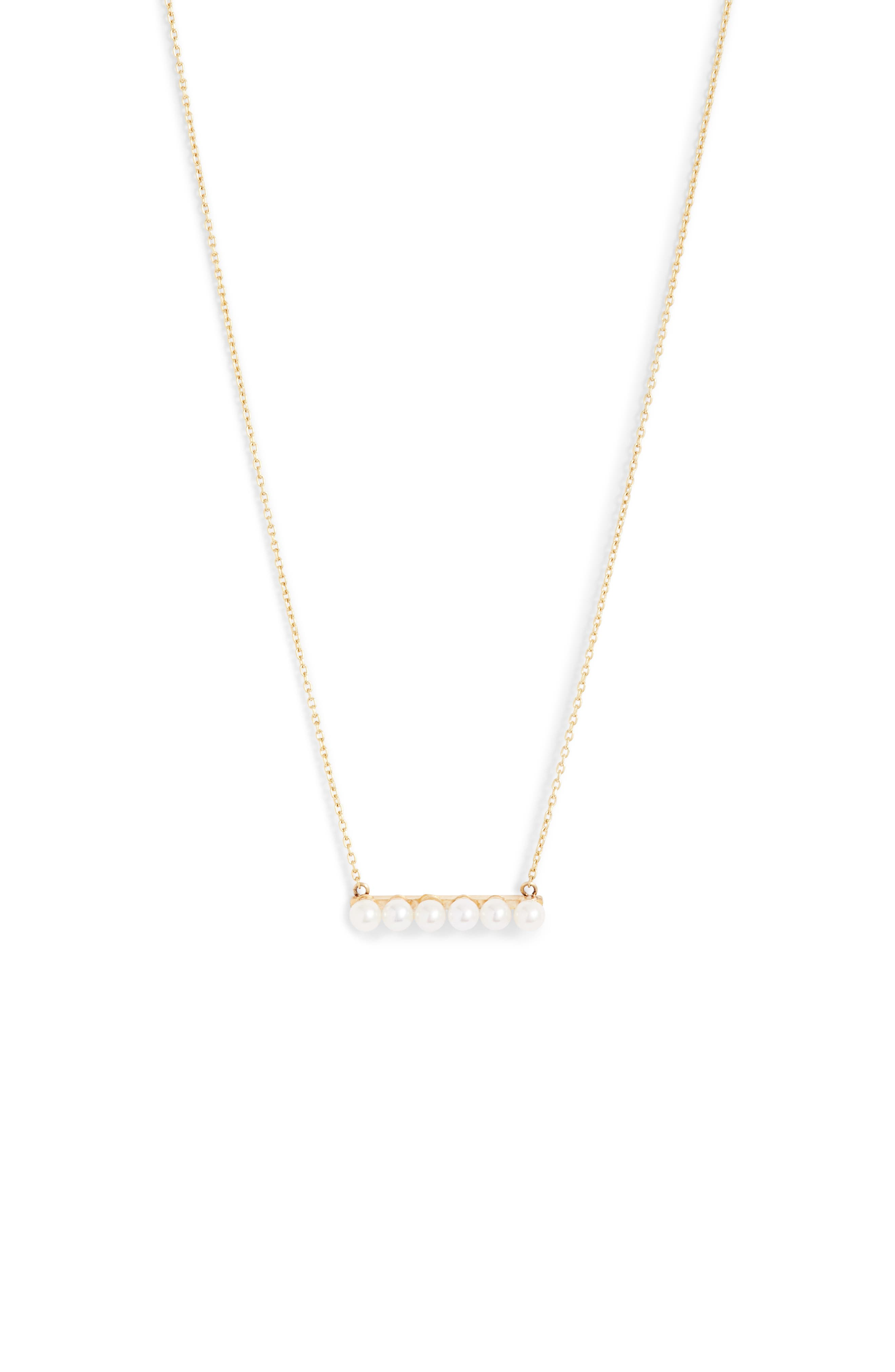Cultured Baby Pearl Bar Necklace,                             Main thumbnail 1, color,                             YELLOW GOLD/ WHITE PEARL