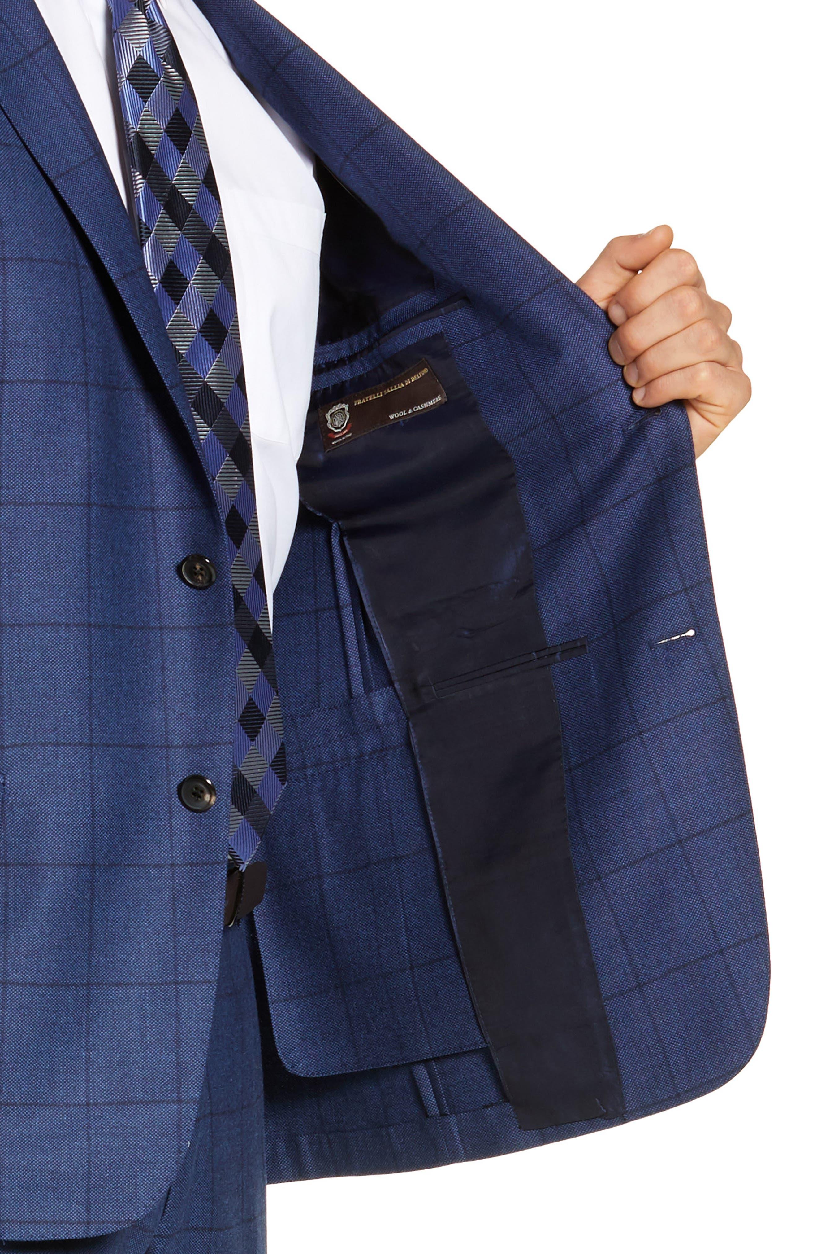 Classic Fit Windowpane Wool & Cashmere Suit,                             Alternate thumbnail 4, color,                             MEDIUM BLUE