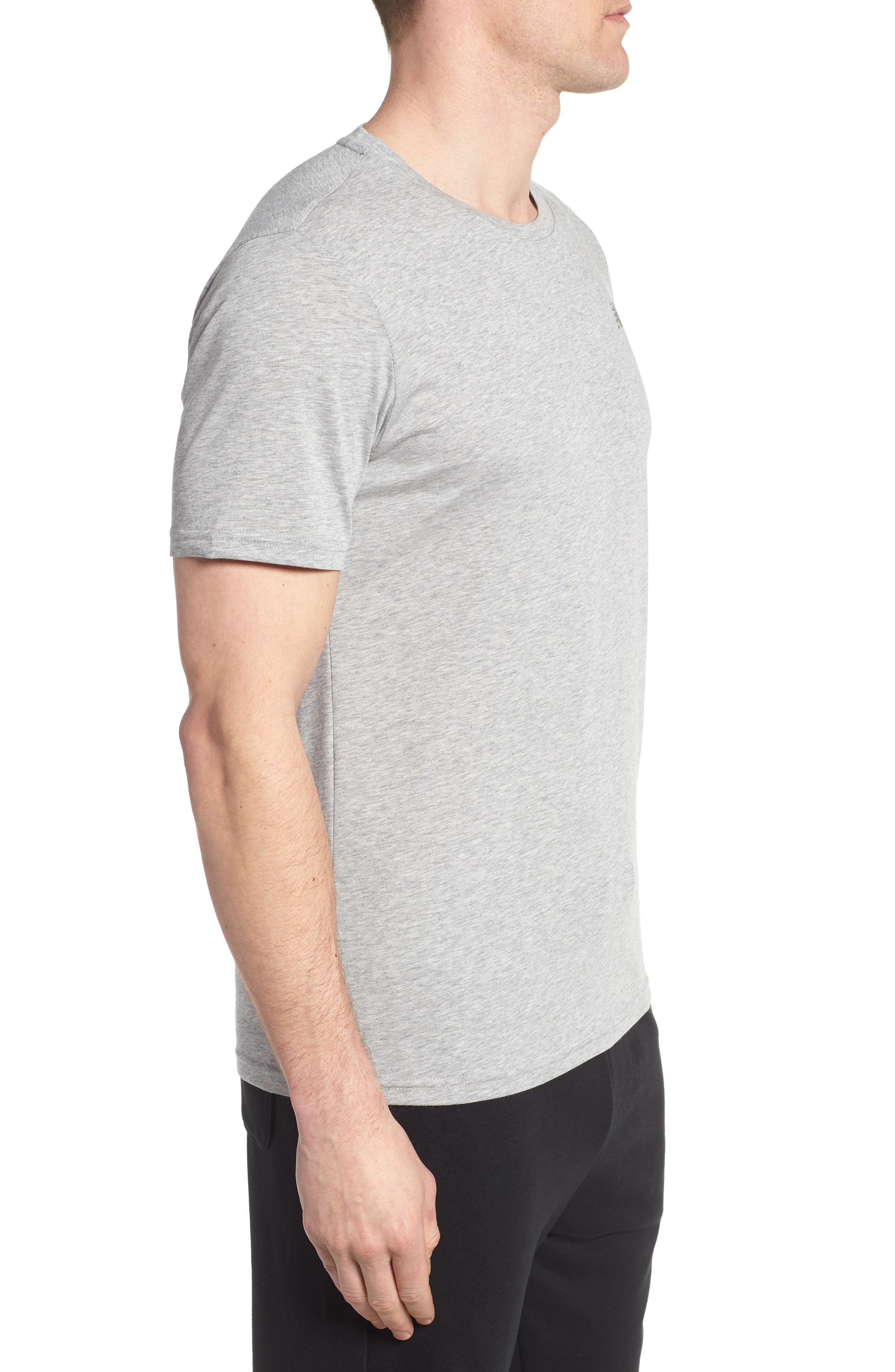 Heather Tech Crewneck T-Shirt,                             Alternate thumbnail 3, color,                             ATHLETIC GREY