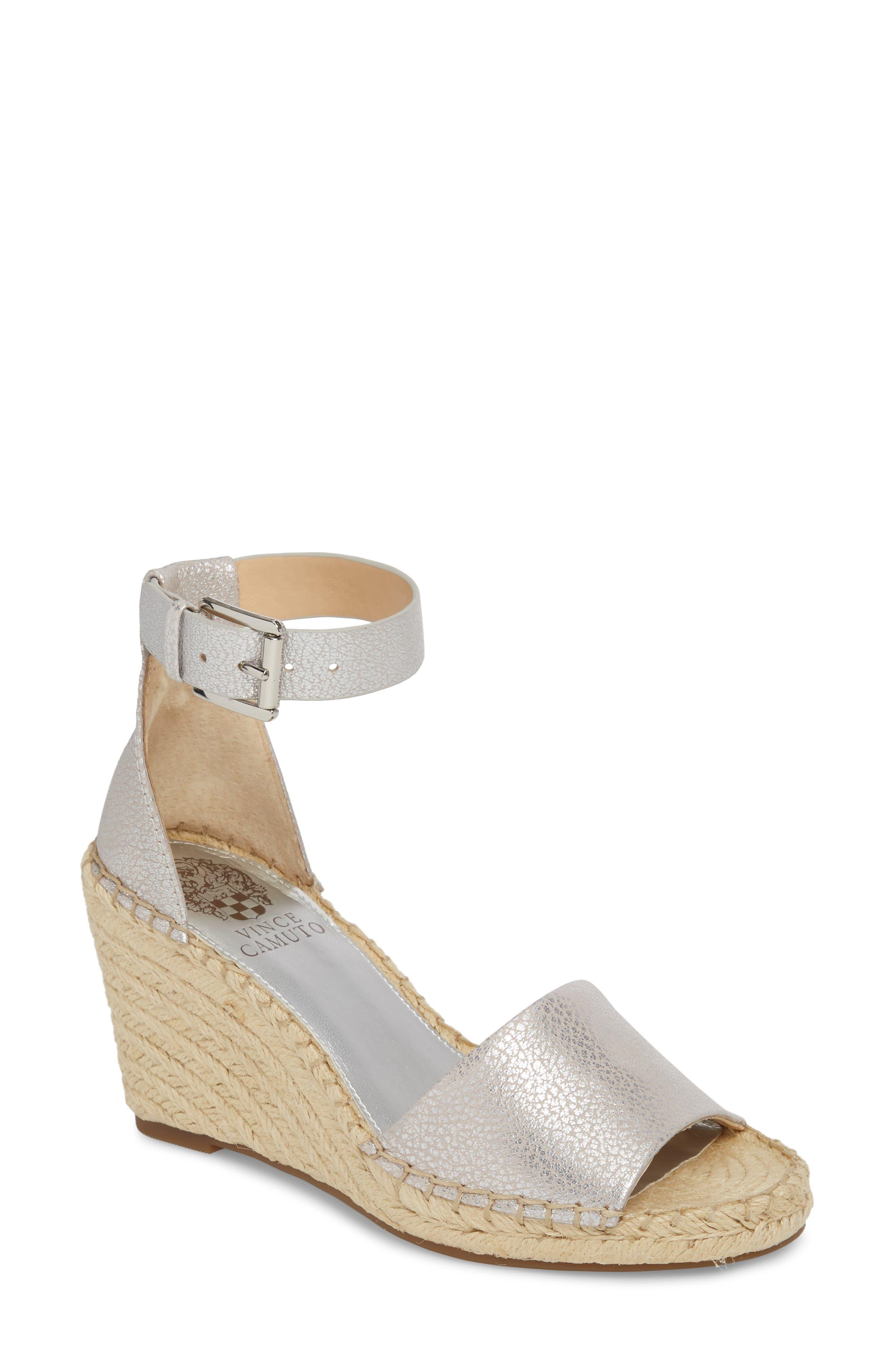 Leera Wedge Sandal,                         Main,                         color, METAL SILVER