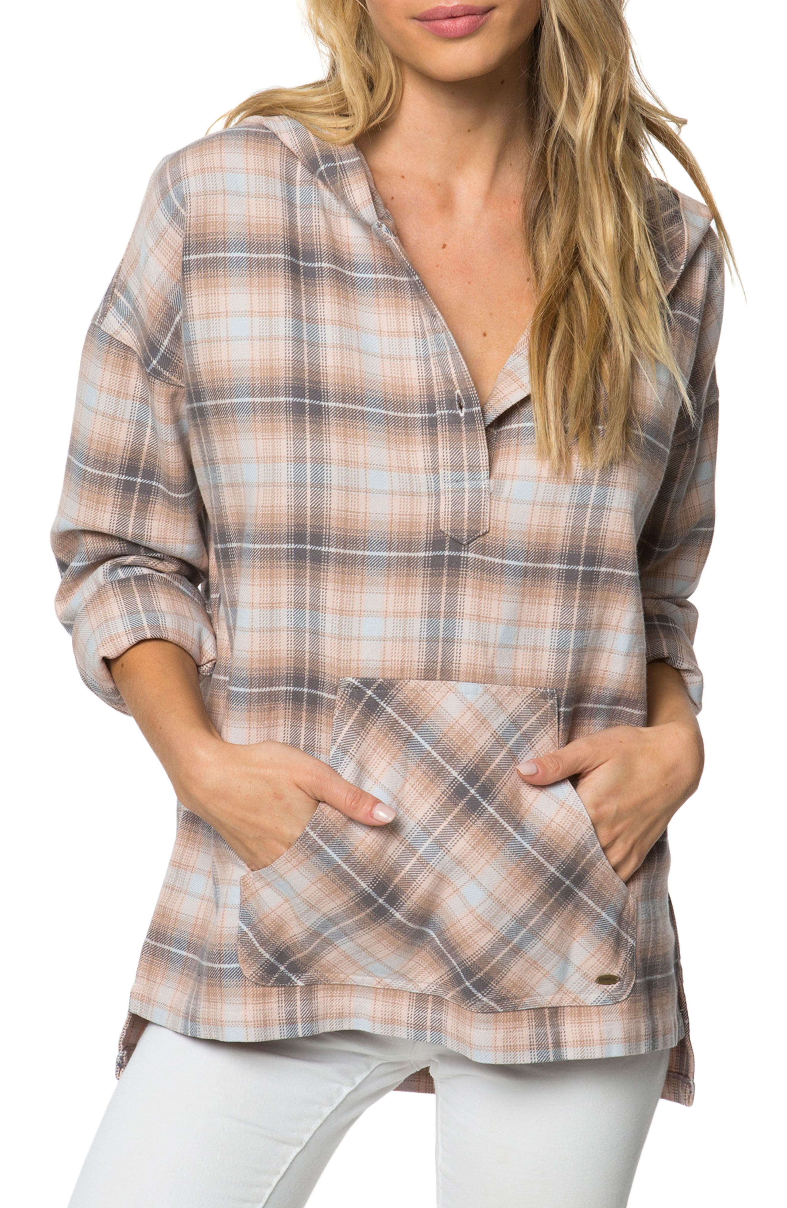 Raven Plaid Hooded Top,                         Main,                         color, 250
