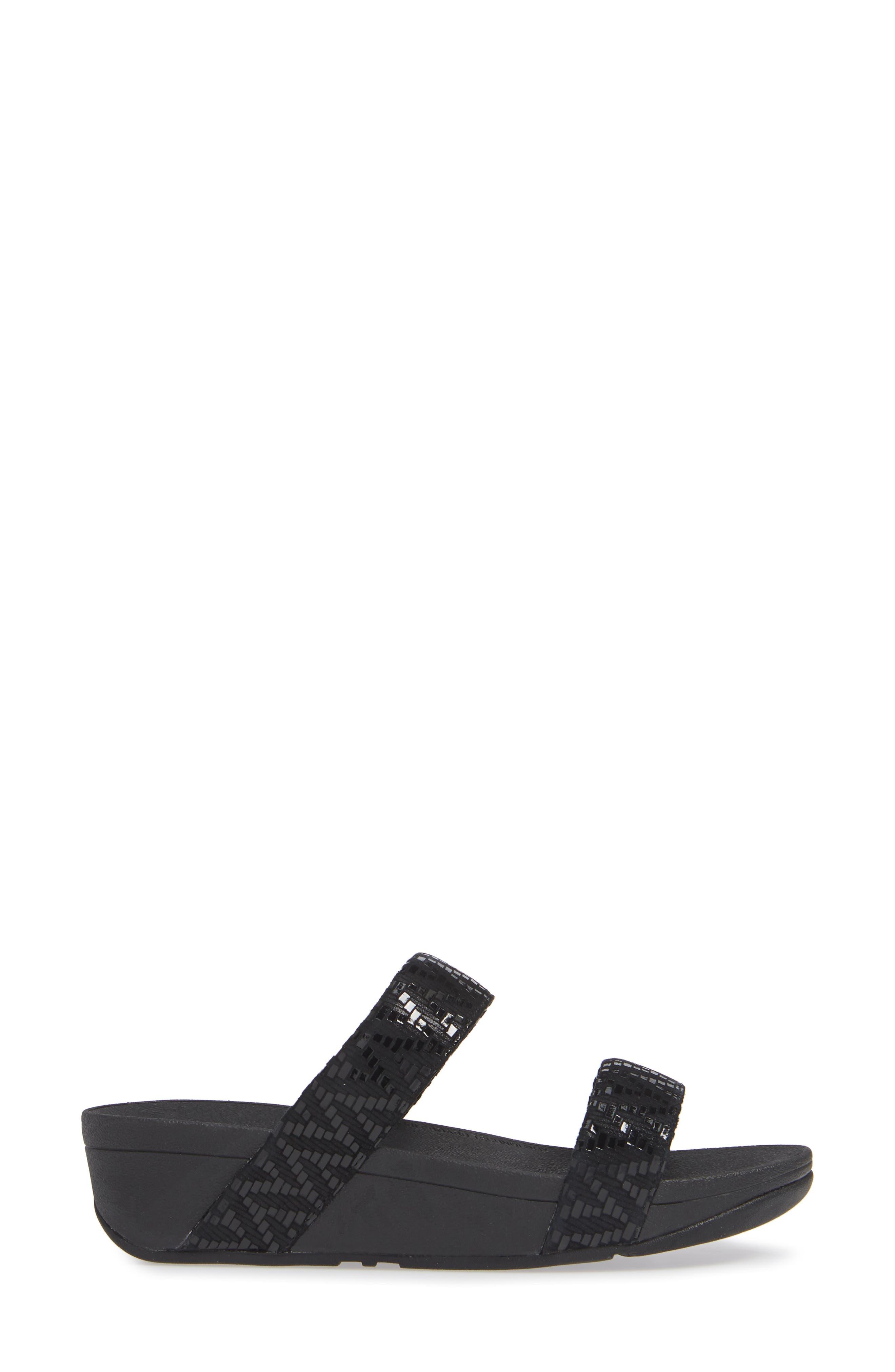 Lottie Chevron Wedge Slide Sandal,                             Alternate thumbnail 3, color,                             BLACK FABRIC