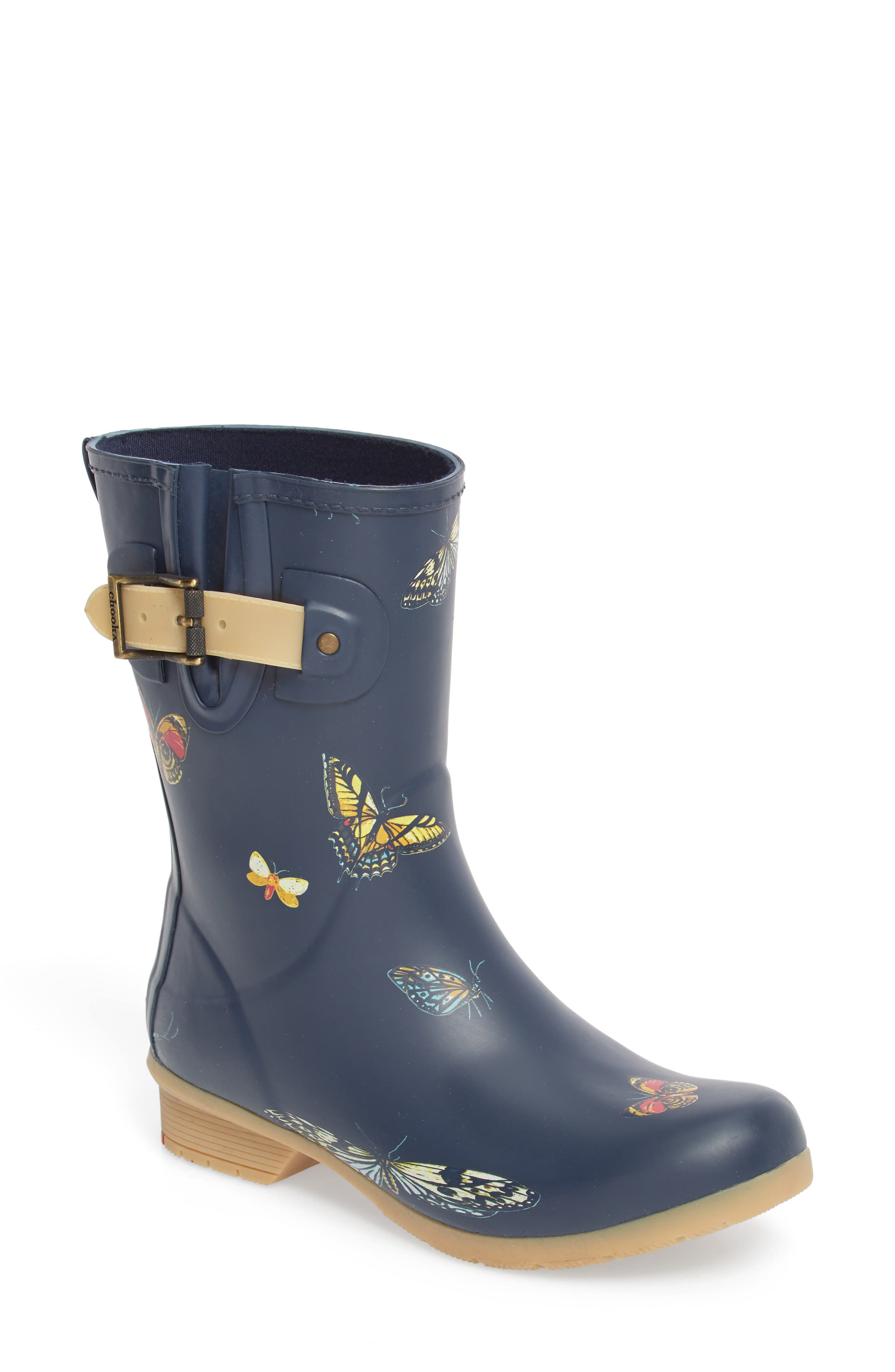 City Solid Mid Height Rain Boot,                         Main,                         color, NAVY