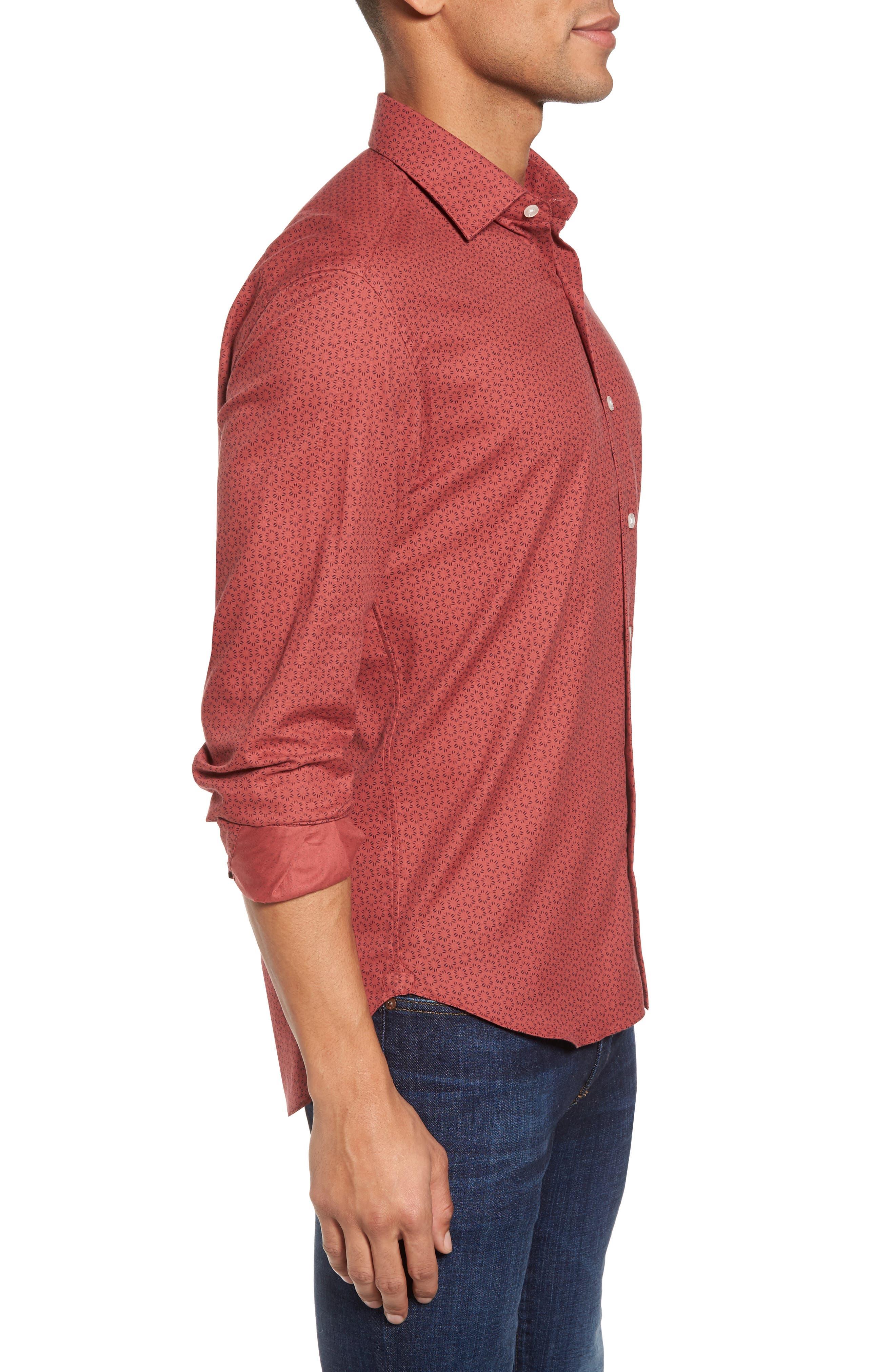 Slim Fit Print Sport Shirt,                             Alternate thumbnail 3, color,                             600