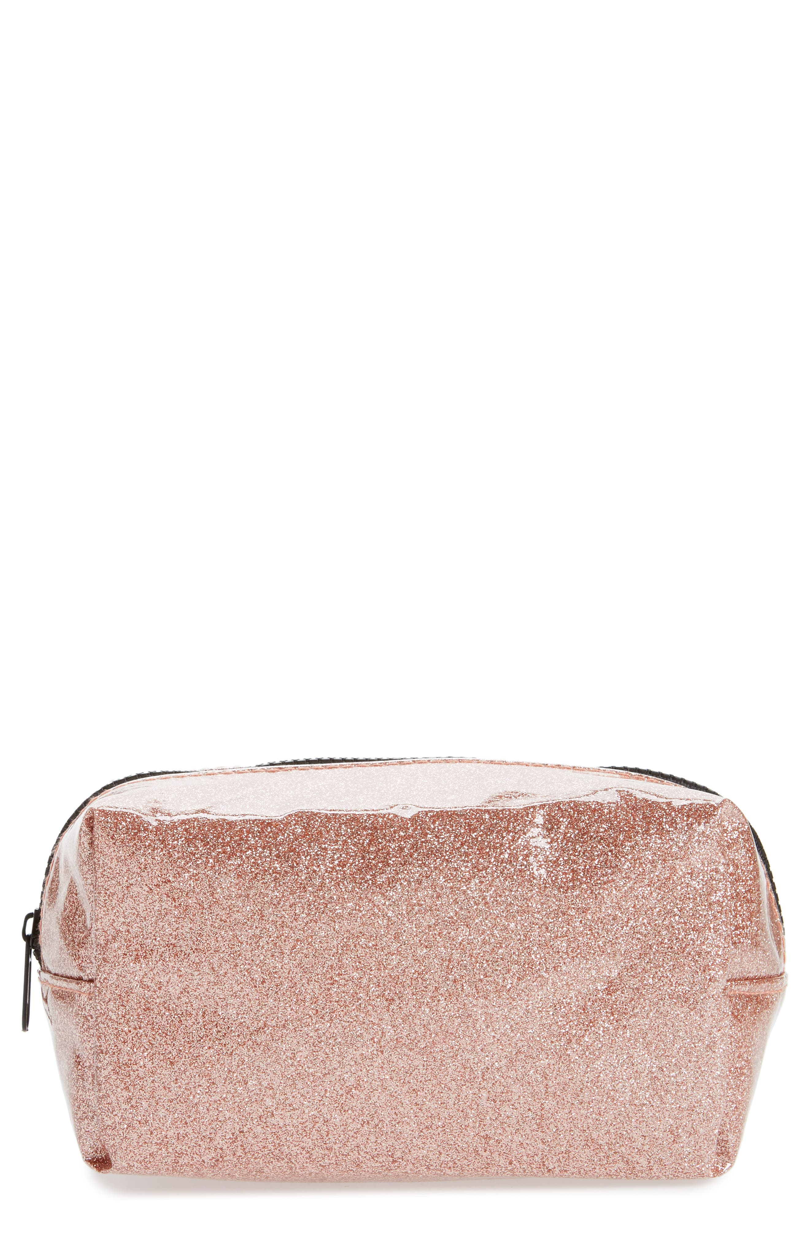 Cosmetics Case,                             Main thumbnail 1, color,                             ROSE GOLD