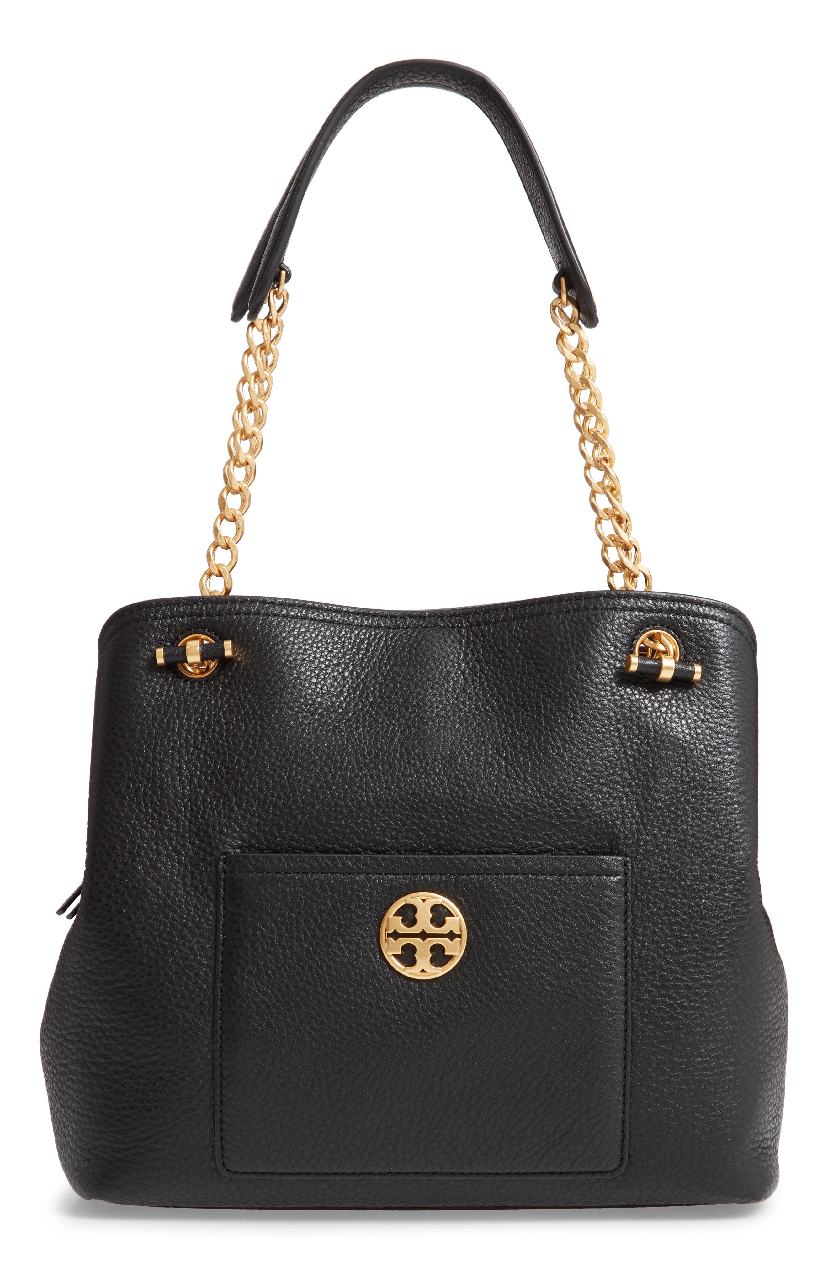 Small Chelsea Leather Tote, Main, color, BLACK