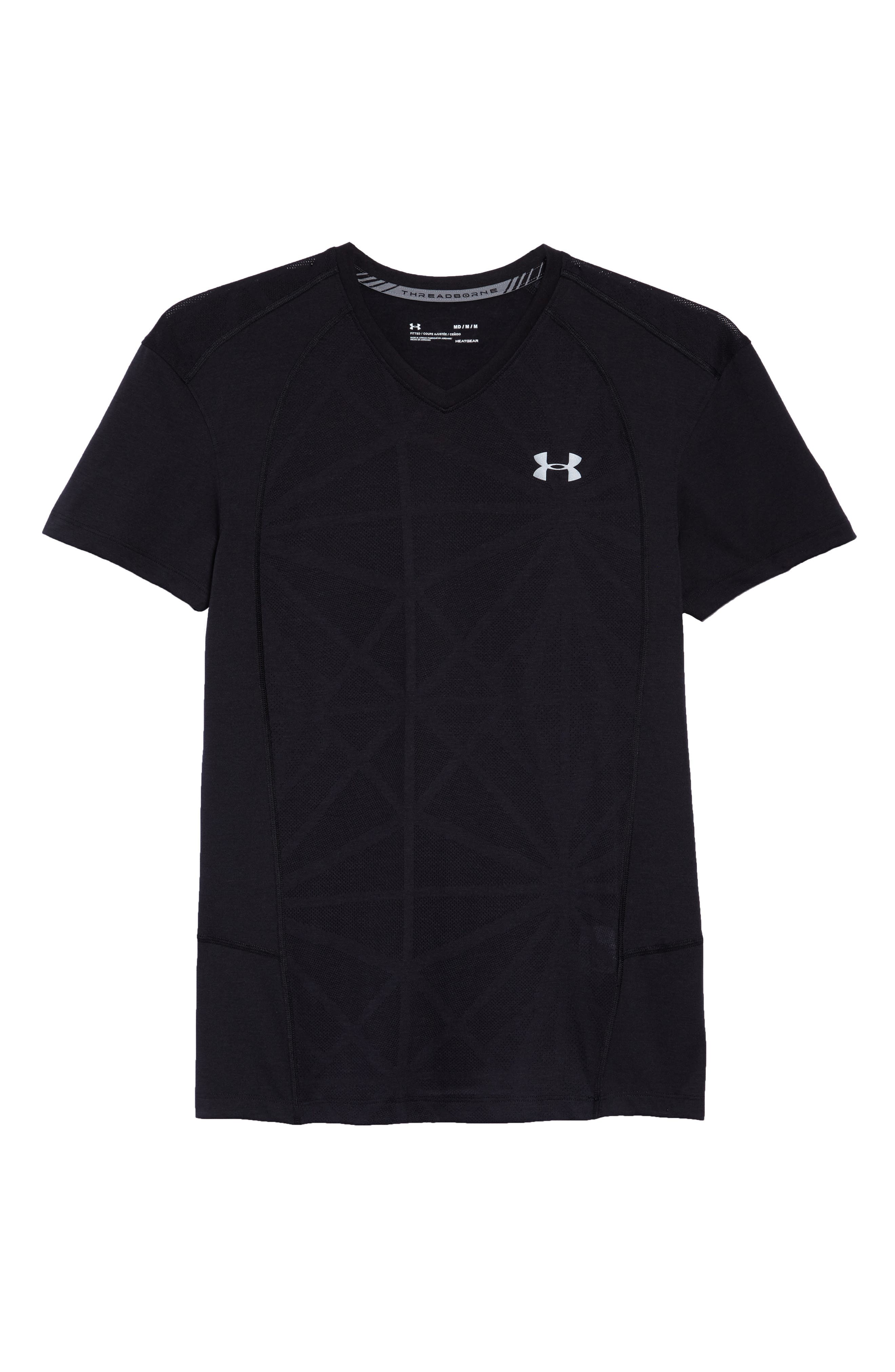 Microthread Swyft V-Neck T-Shirt,                             Alternate thumbnail 6, color,                             BLACK/ BLACK/ REFLECTIVE