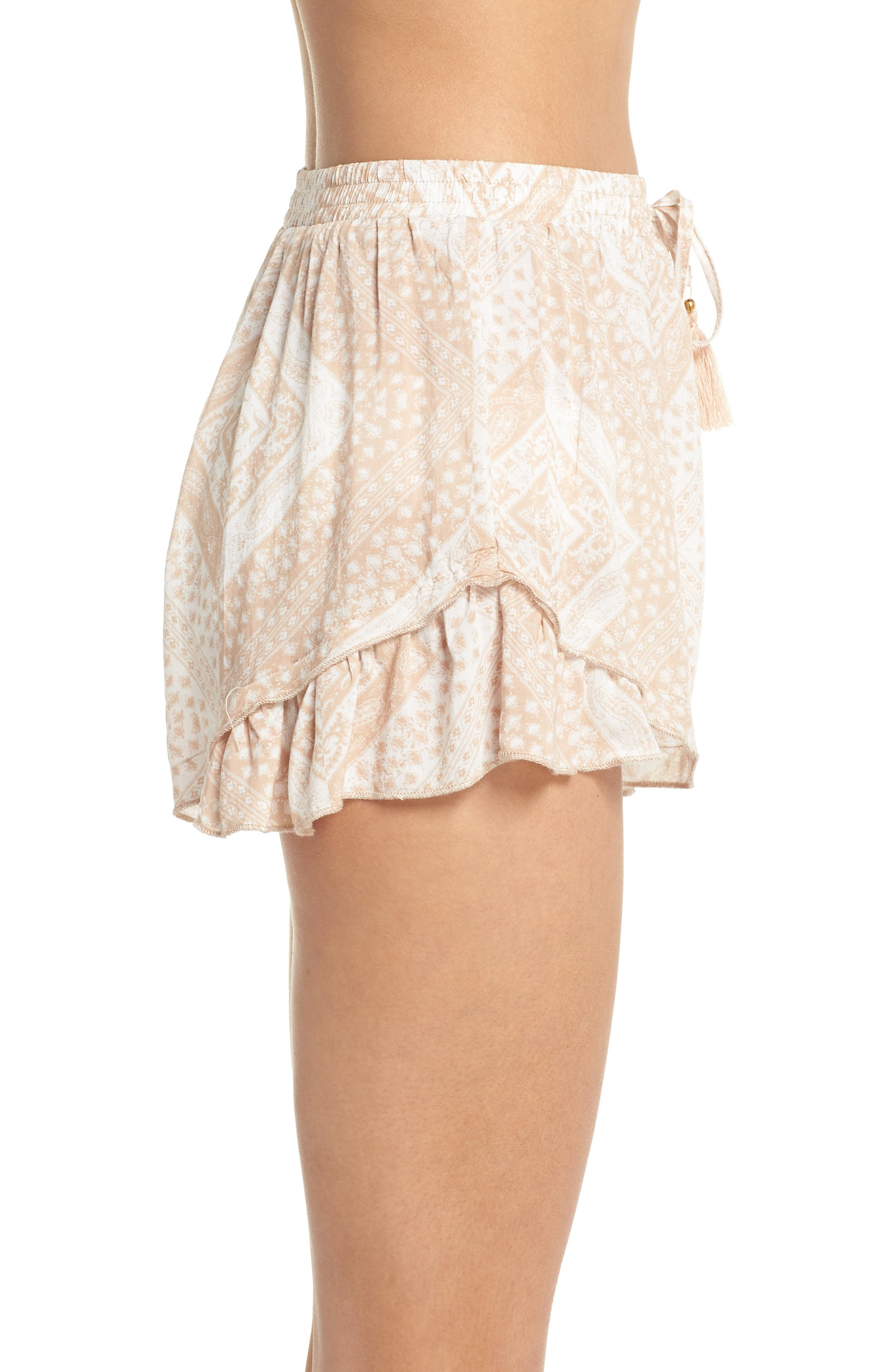 Tassel Trim Cover-Up Shorts,                             Alternate thumbnail 3, color,                             TAN SCARF