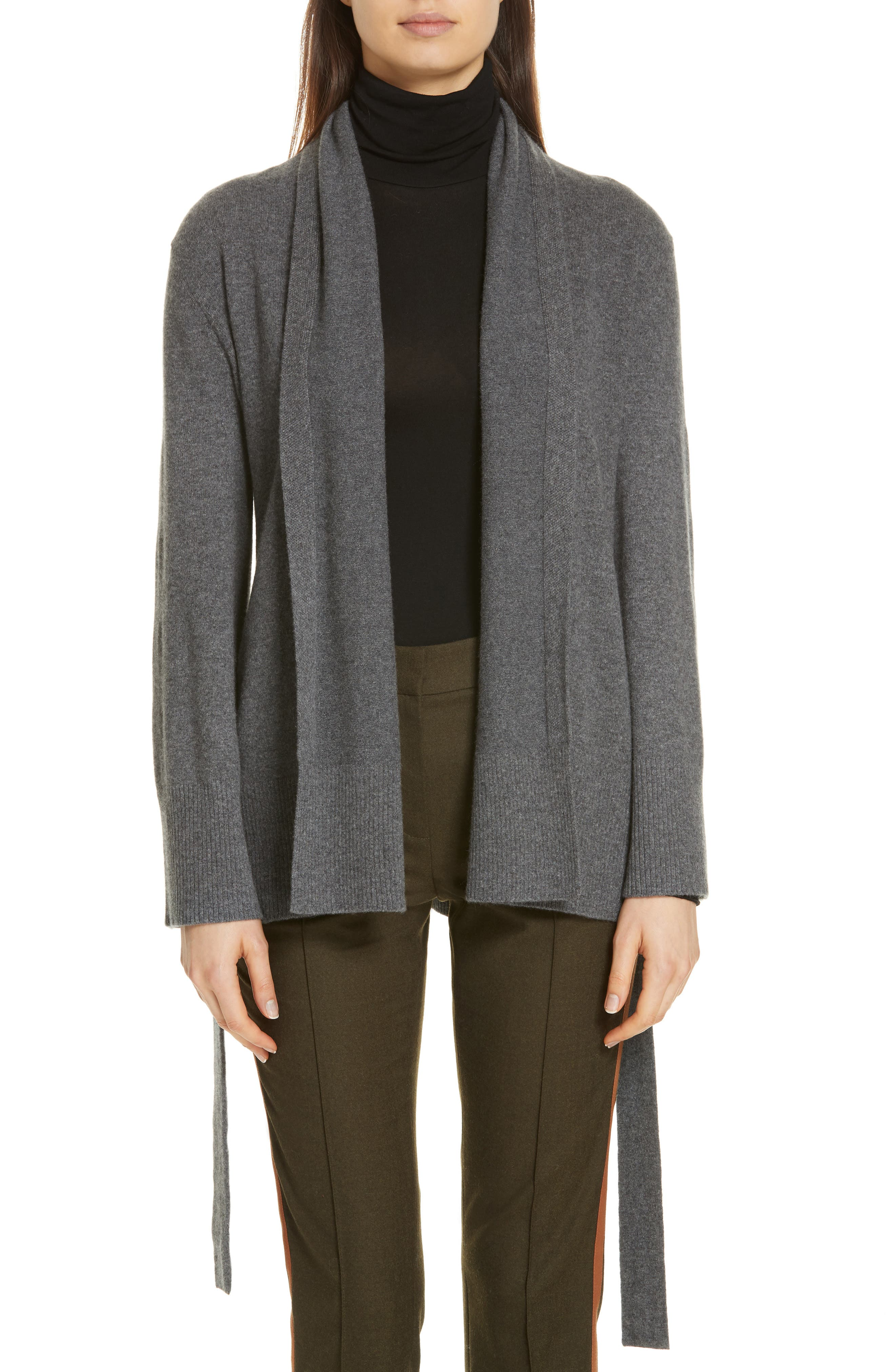 Belted Cashmere Blend Cardigan,                         Main,                         color, GREY PEARL HEATHER