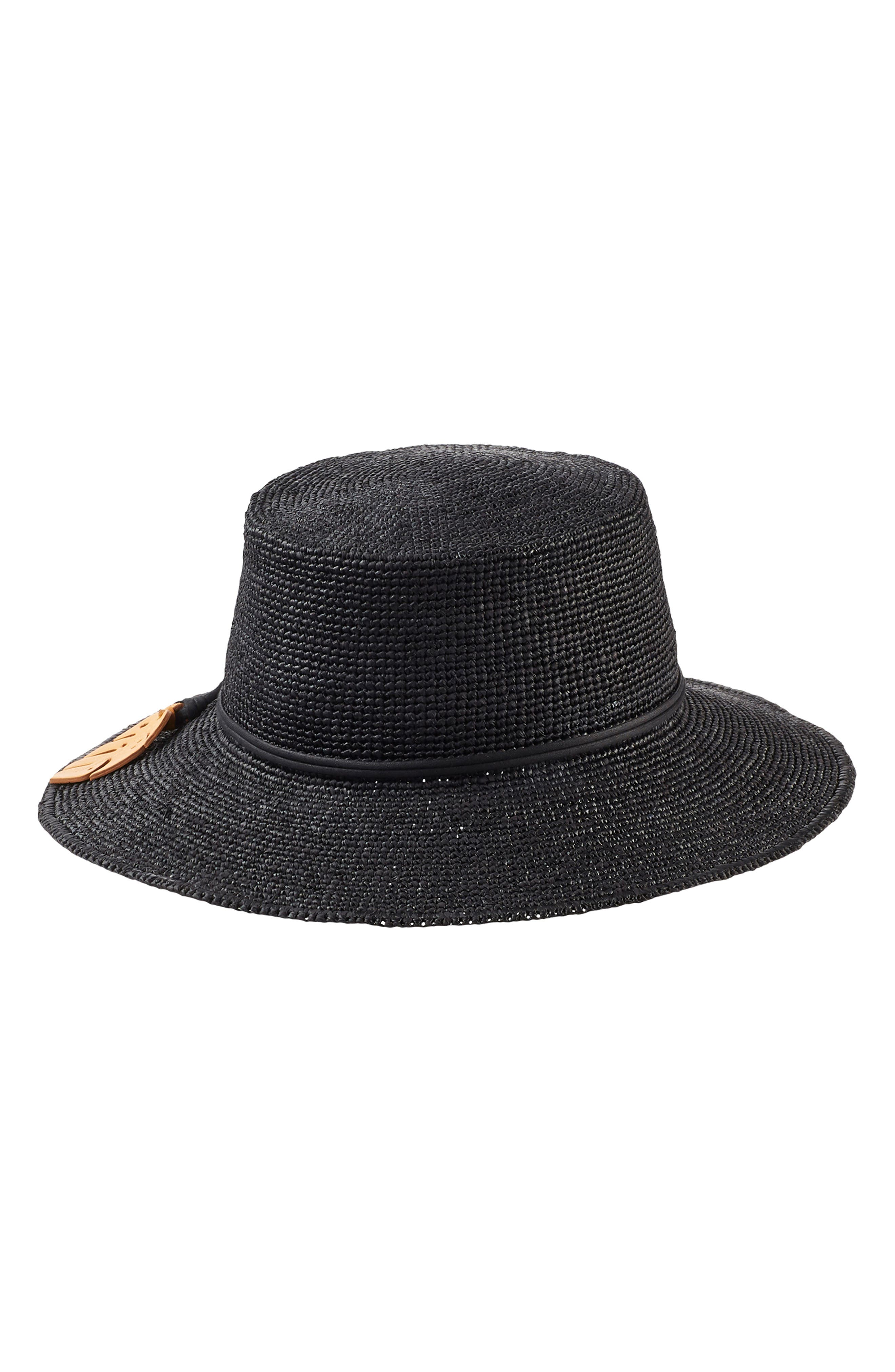 Tapered Brim Raffia Hat,                             Alternate thumbnail 2, color,                             CHARCOAL/ CONGO YELLOW