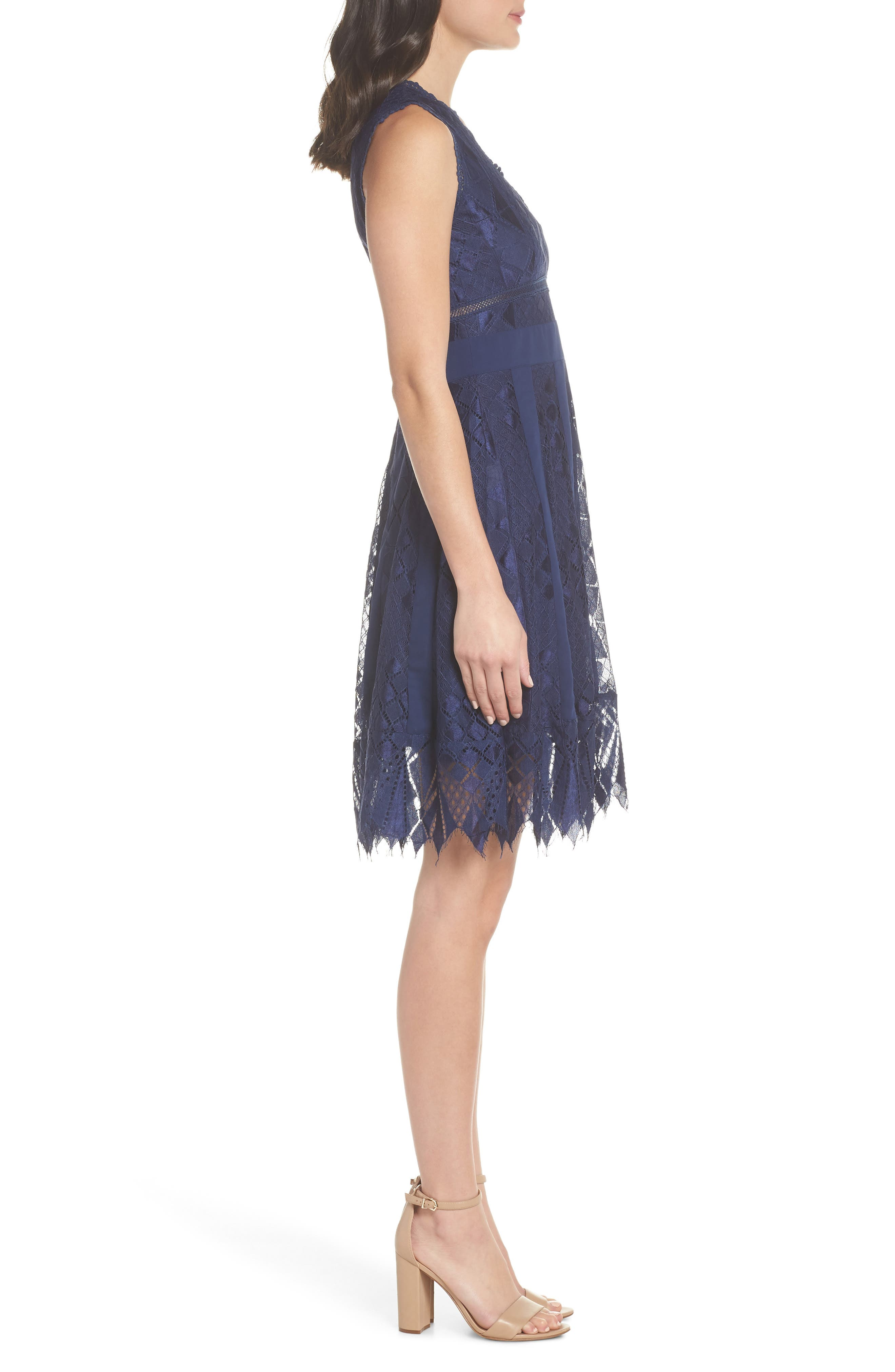Juliet Sleeveless Lace Dress,                             Alternate thumbnail 3, color,                             NAVY