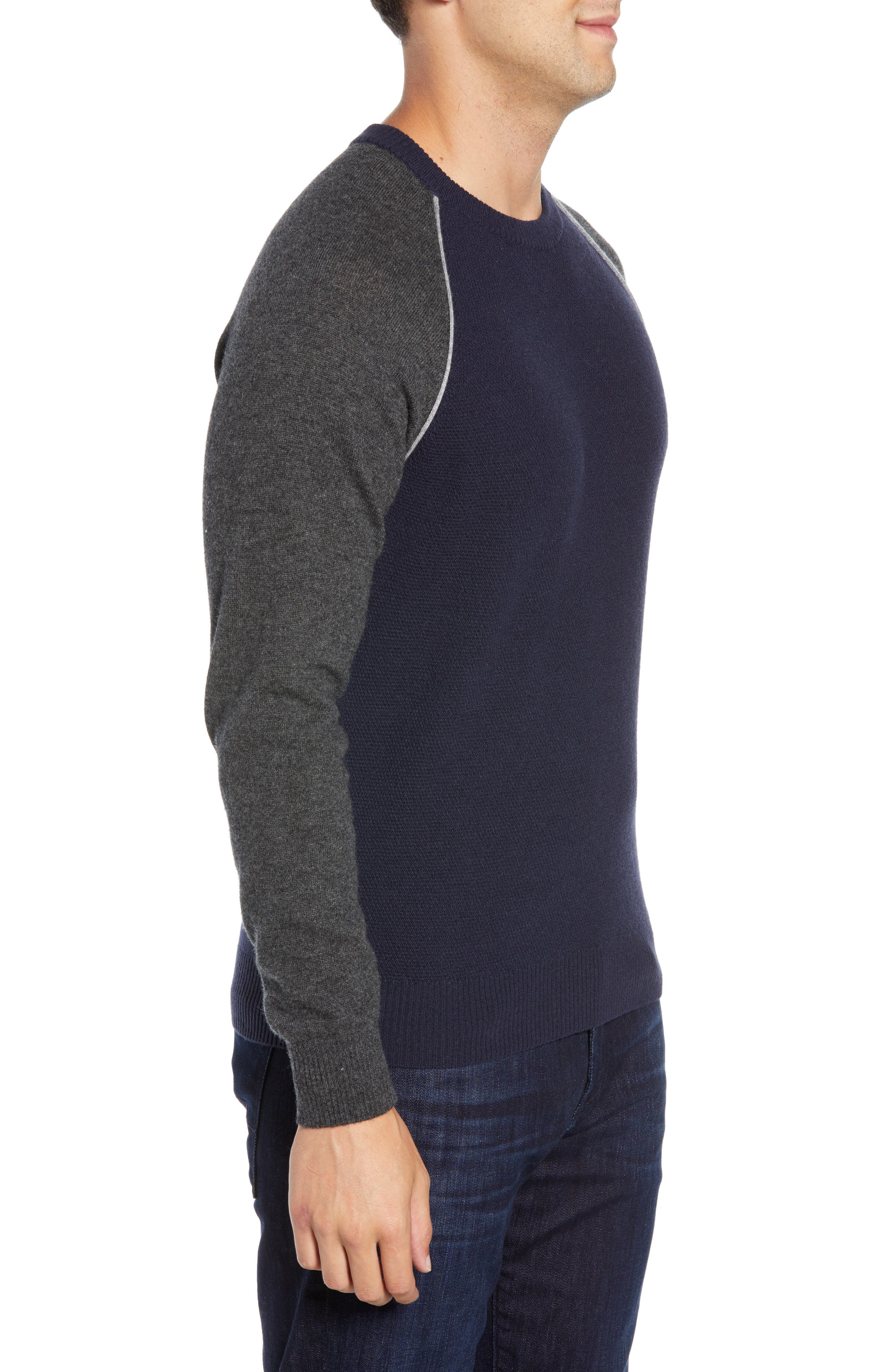 Active Crewneck Wool & Cashmere Sweater,                             Alternate thumbnail 3, color,                             NAVY