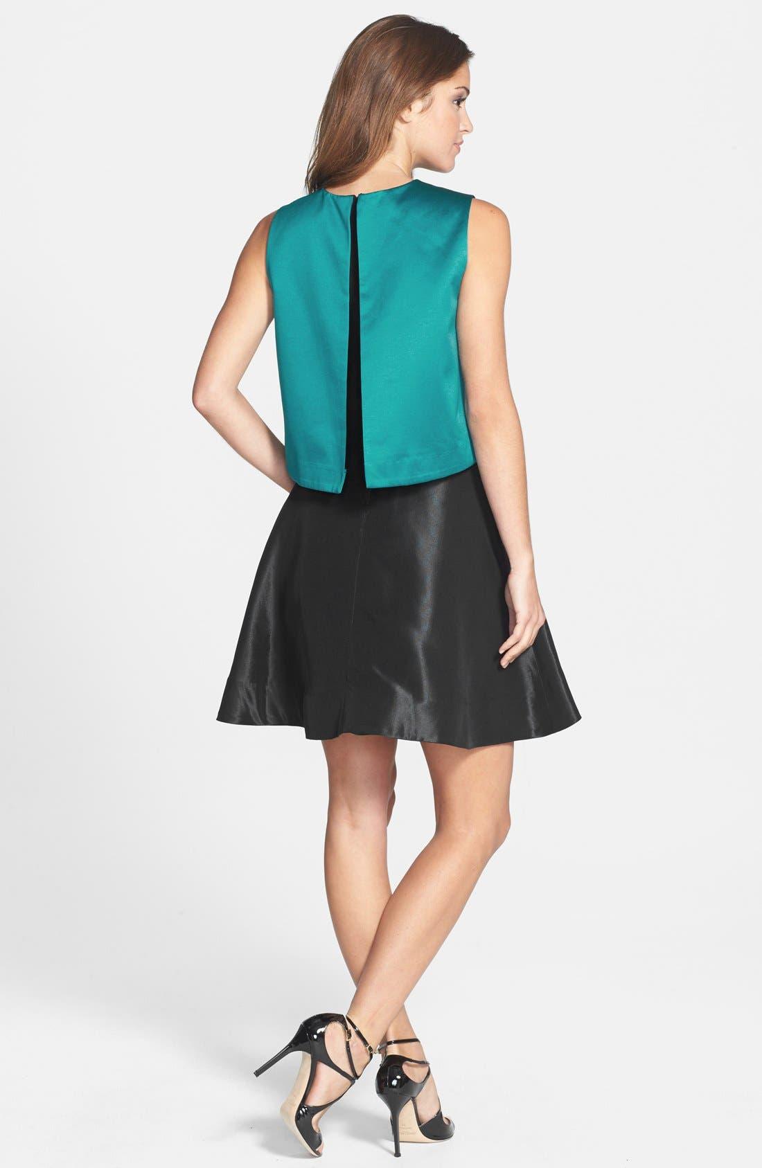 'Tippy' Popover Satin Fit & Flare Dress,                             Alternate thumbnail 2, color,                             440