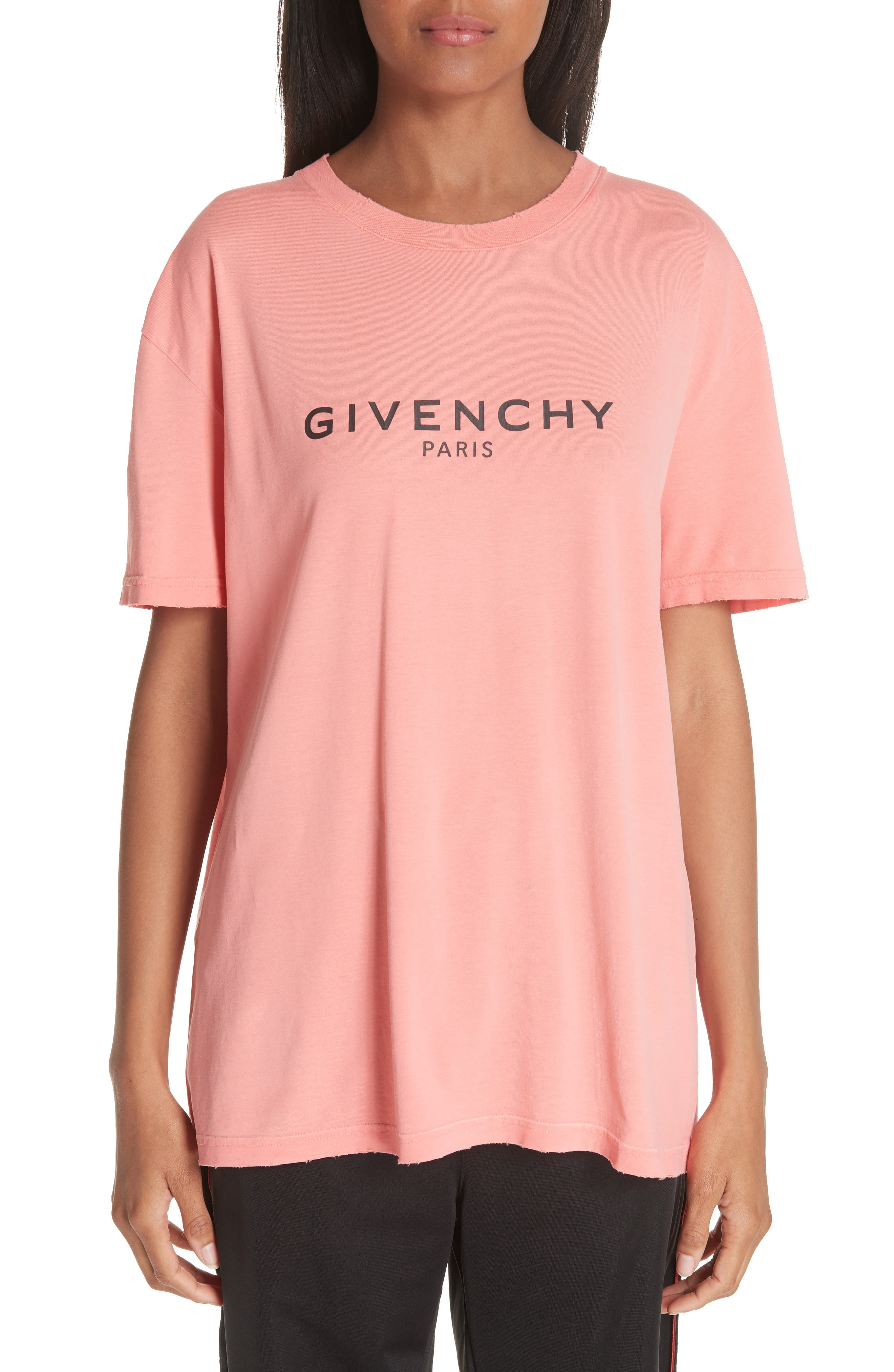 GIVENCHY Distressed Logo Tee, Main, color, CORAL