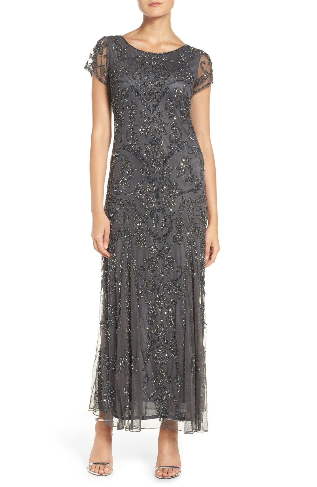 Embellished Mesh Gown,                             Main thumbnail 8, color,