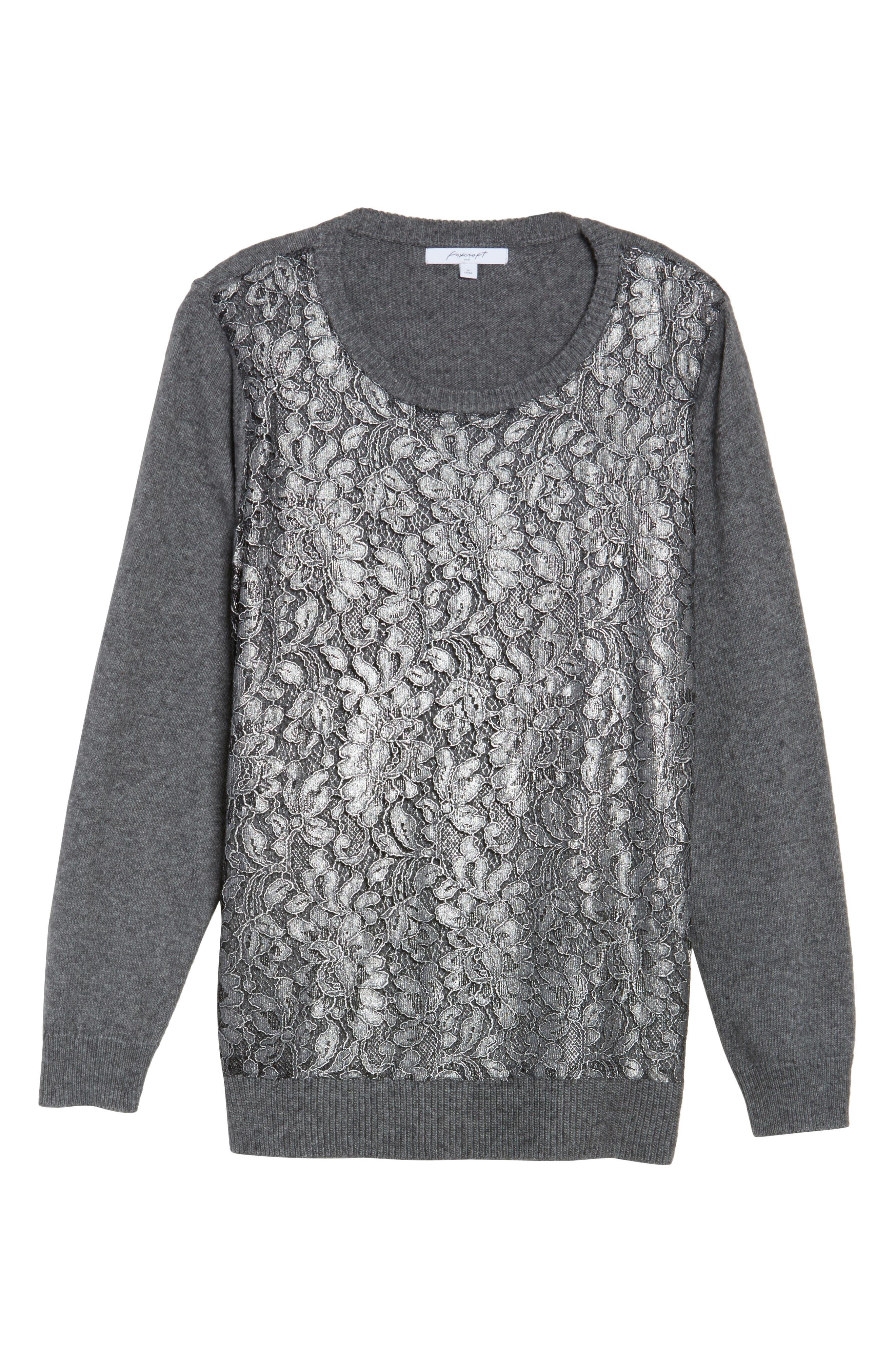 Pixie Metallic Lace Panel Sweater,                             Alternate thumbnail 6, color,                             037