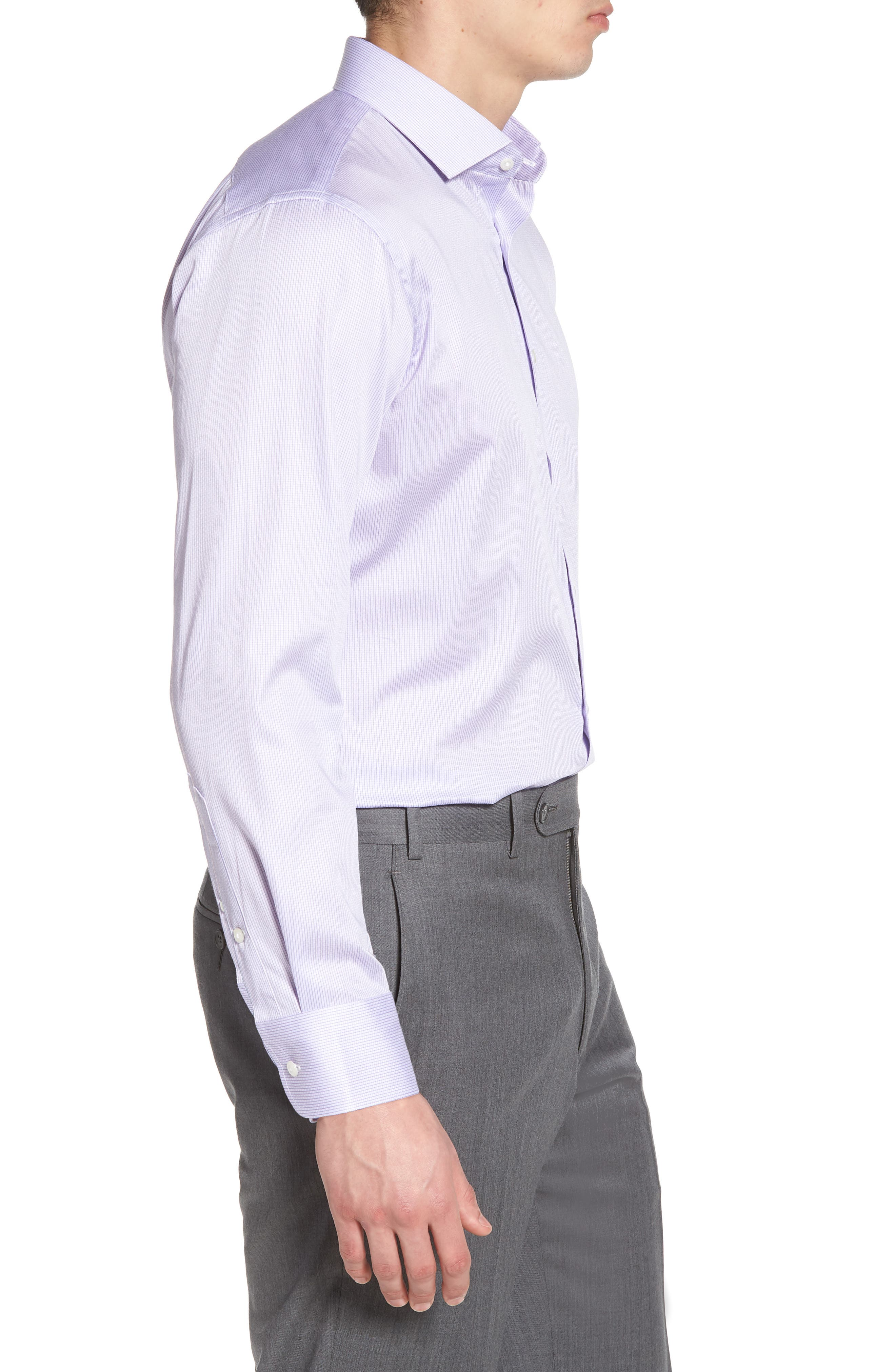 Trim Fit Stripe Dress Shirt,                             Alternate thumbnail 12, color,
