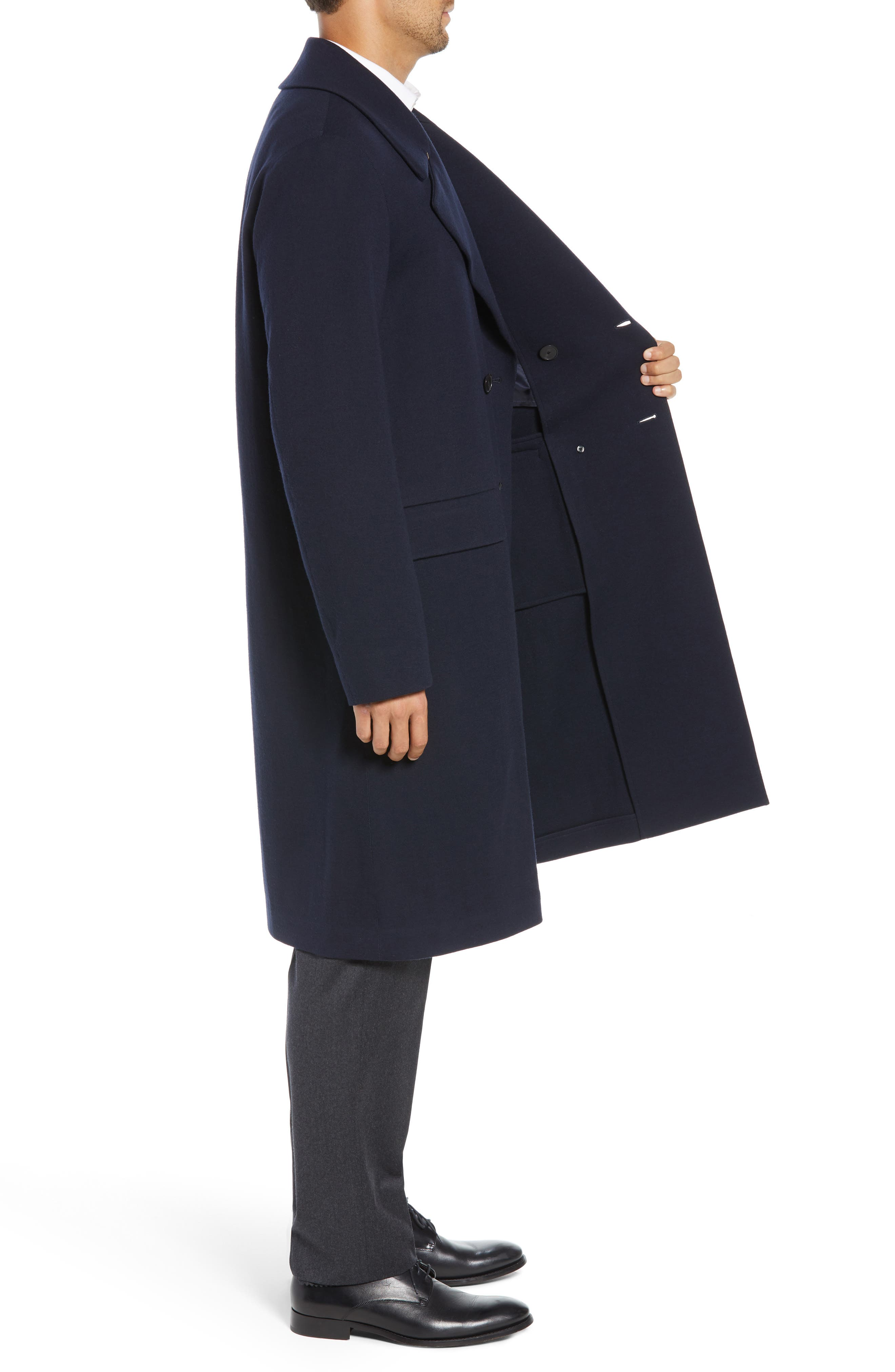 Wool Blend Chesterfield Coat,                             Alternate thumbnail 3, color,                             MIDNIGHT
