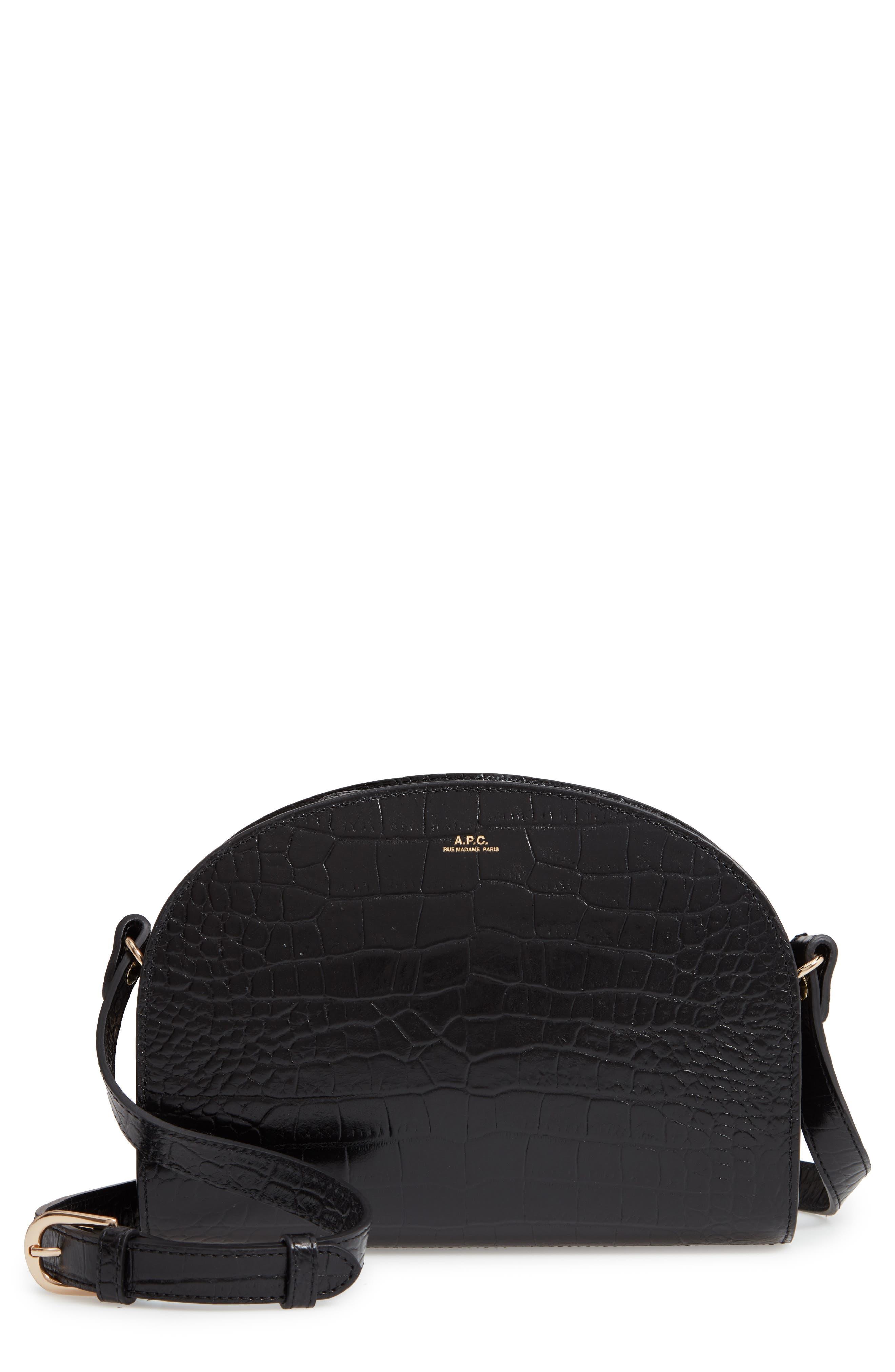 Sac Demi Lune Leather Shoulder Bag,                             Main thumbnail 1, color,                             001