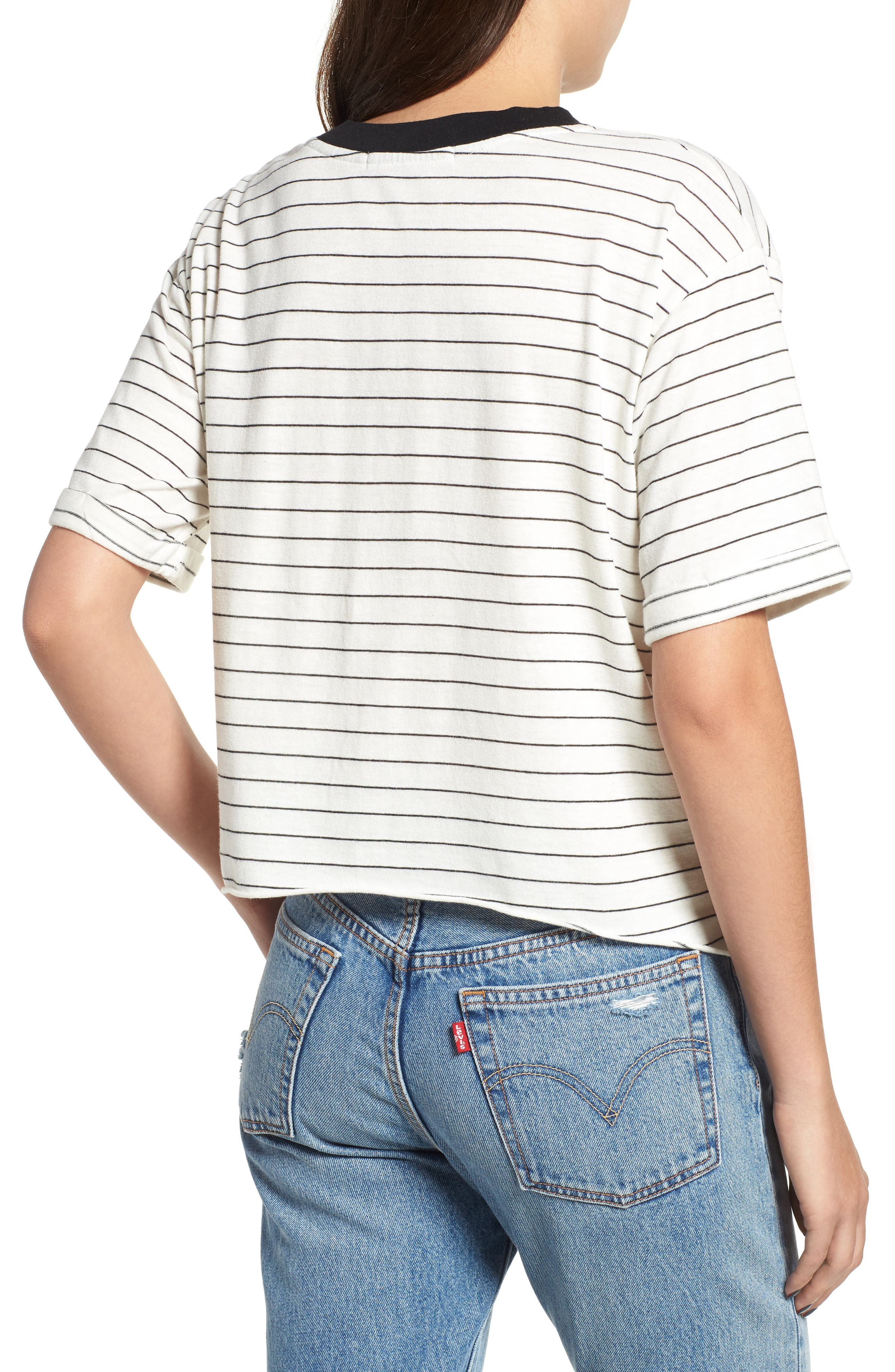 Freddy Crop Ringer Tee,                             Alternate thumbnail 2, color,                             IVORY/ BLACK