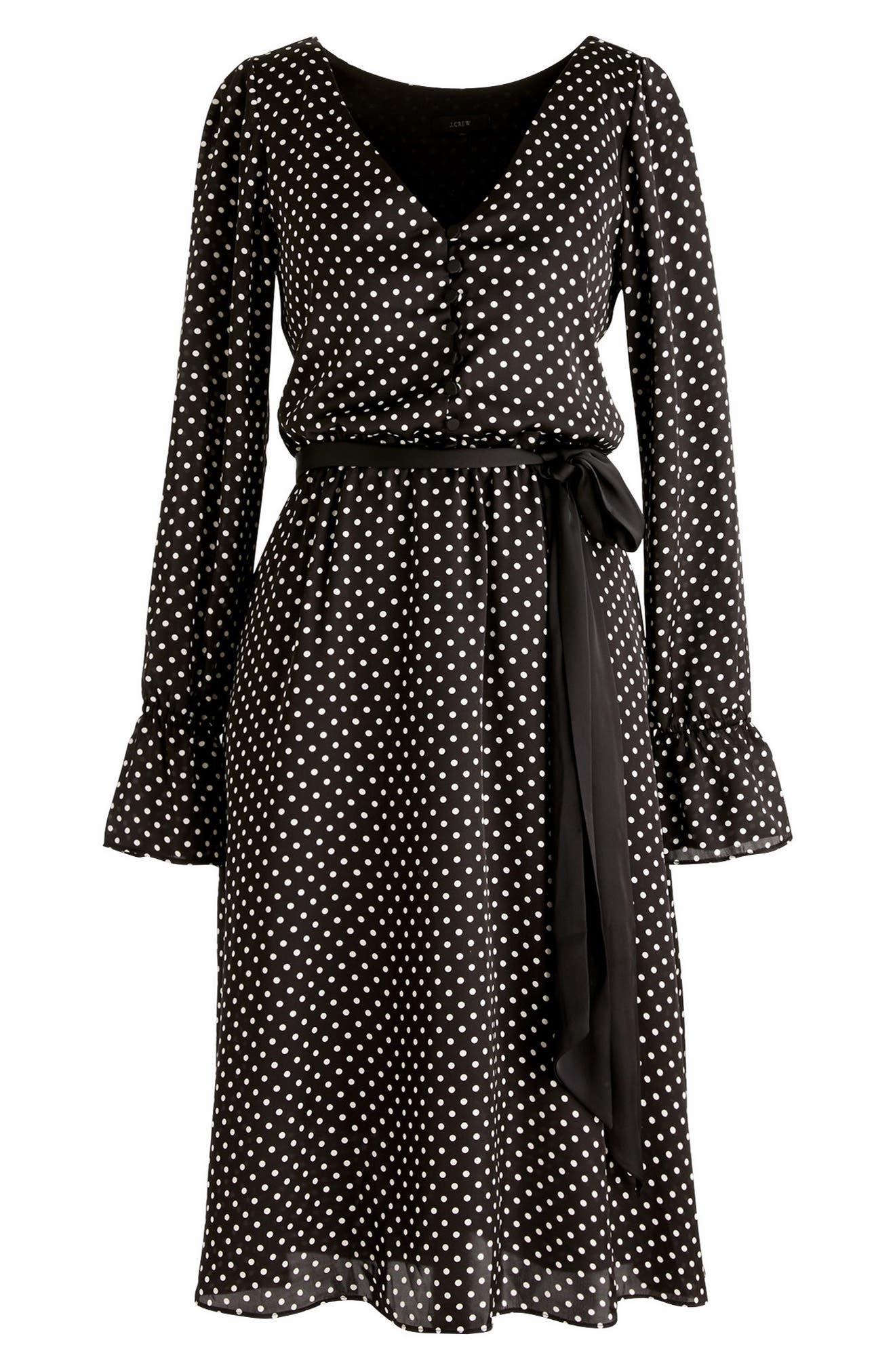 Long Sleeve Polka Dot Dress,                             Alternate thumbnail 3, color,                             009