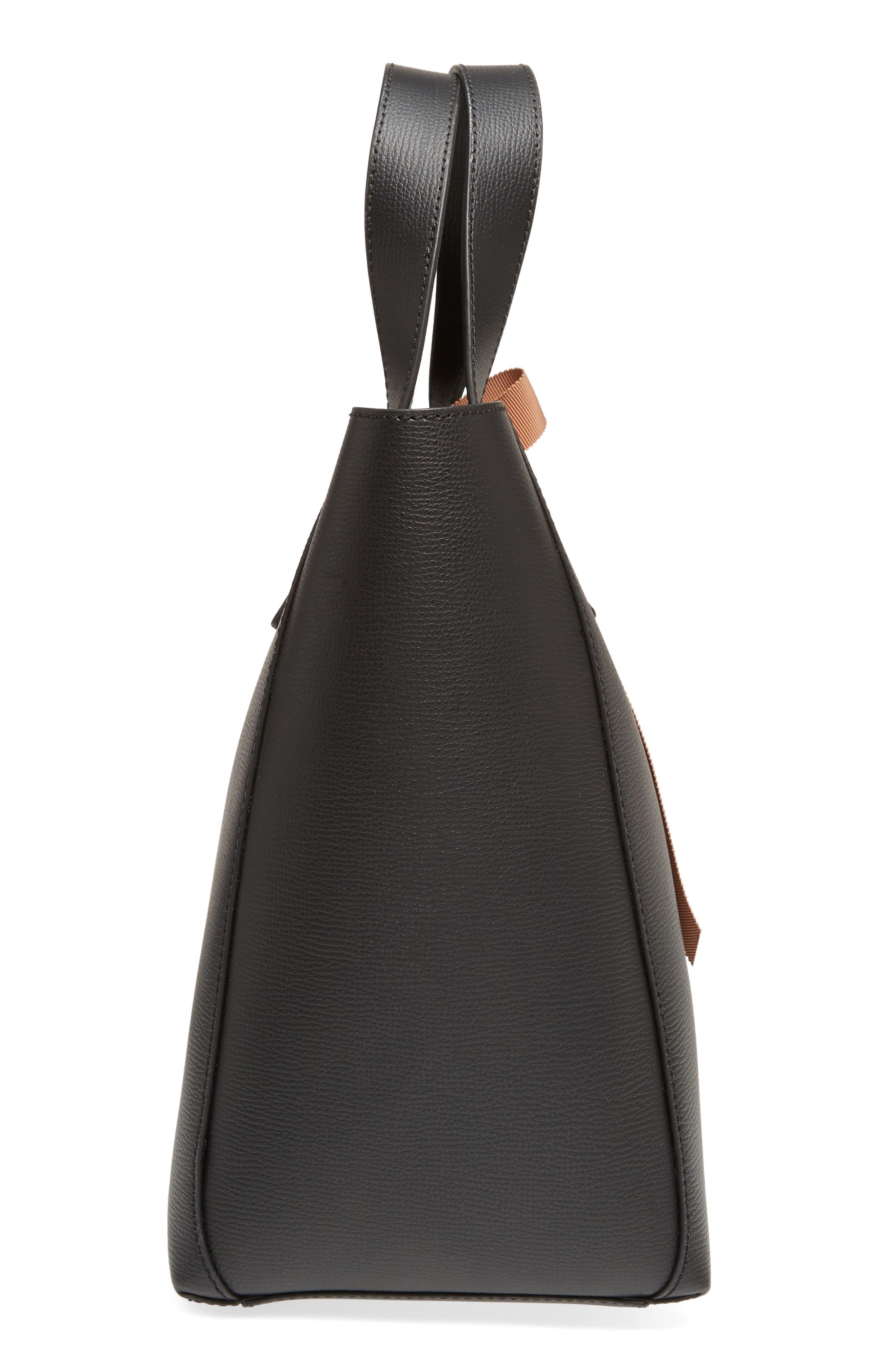 Ribbon Tie Leather Top Handle Shopper,                             Alternate thumbnail 5, color,                             008