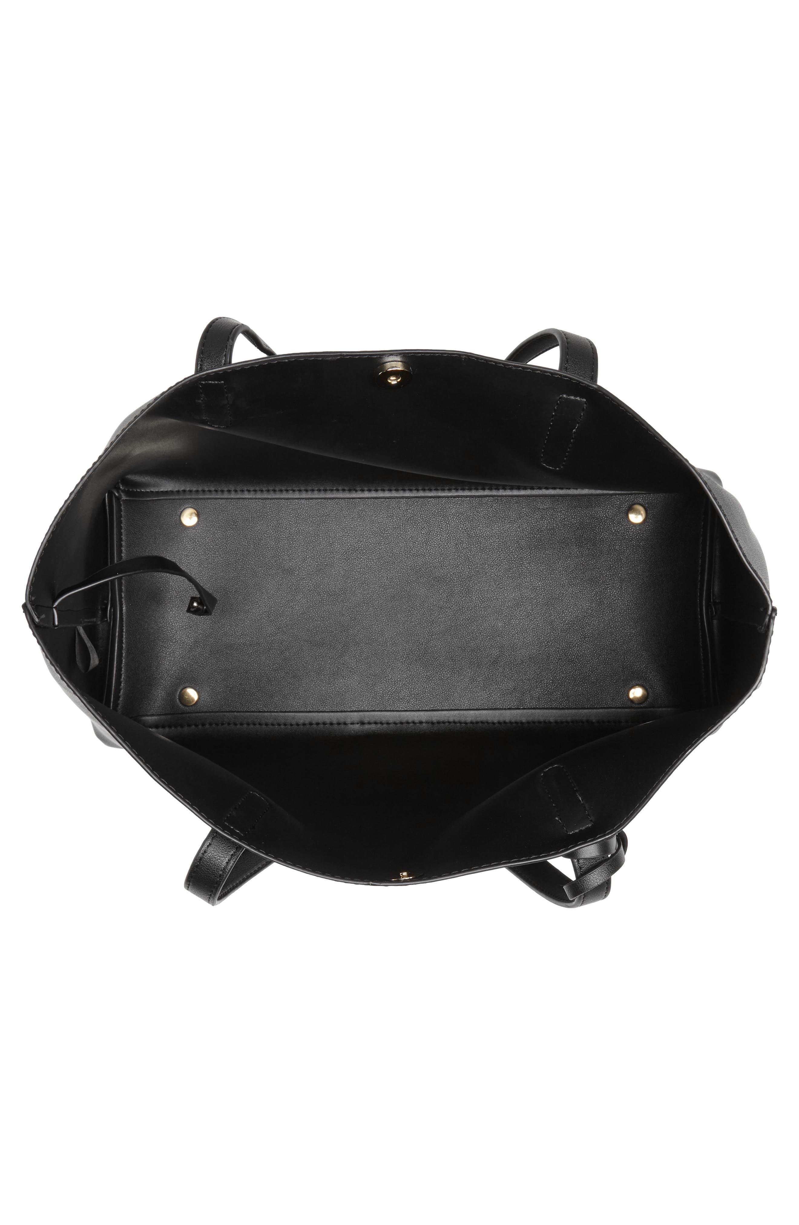 Zeda Faux Leather Tote,                             Alternate thumbnail 4, color,                             BLACK