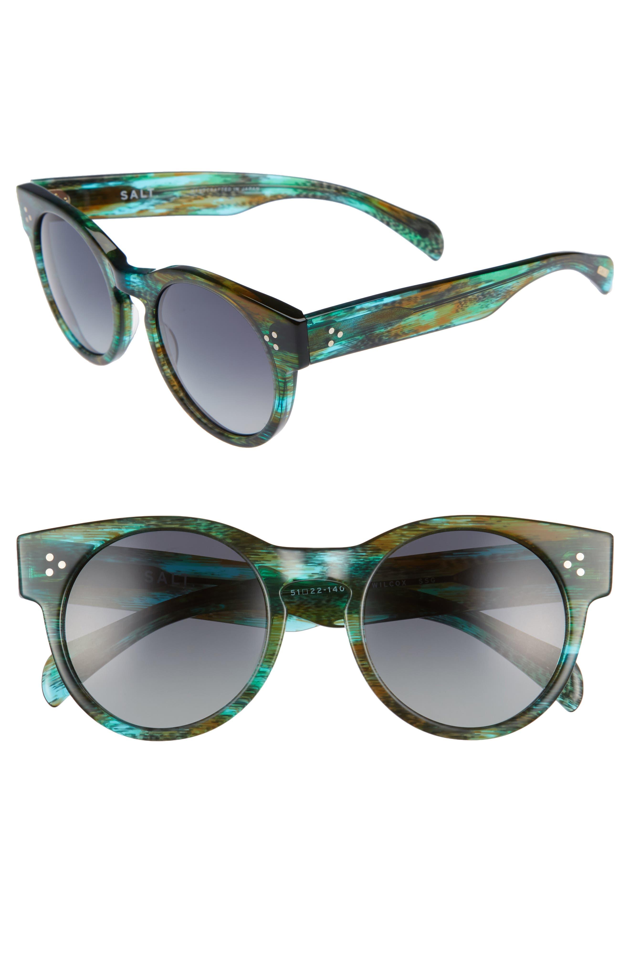 Wilcox 51mm Polarized Bold Round Sunglasses,                             Main thumbnail 2, color,