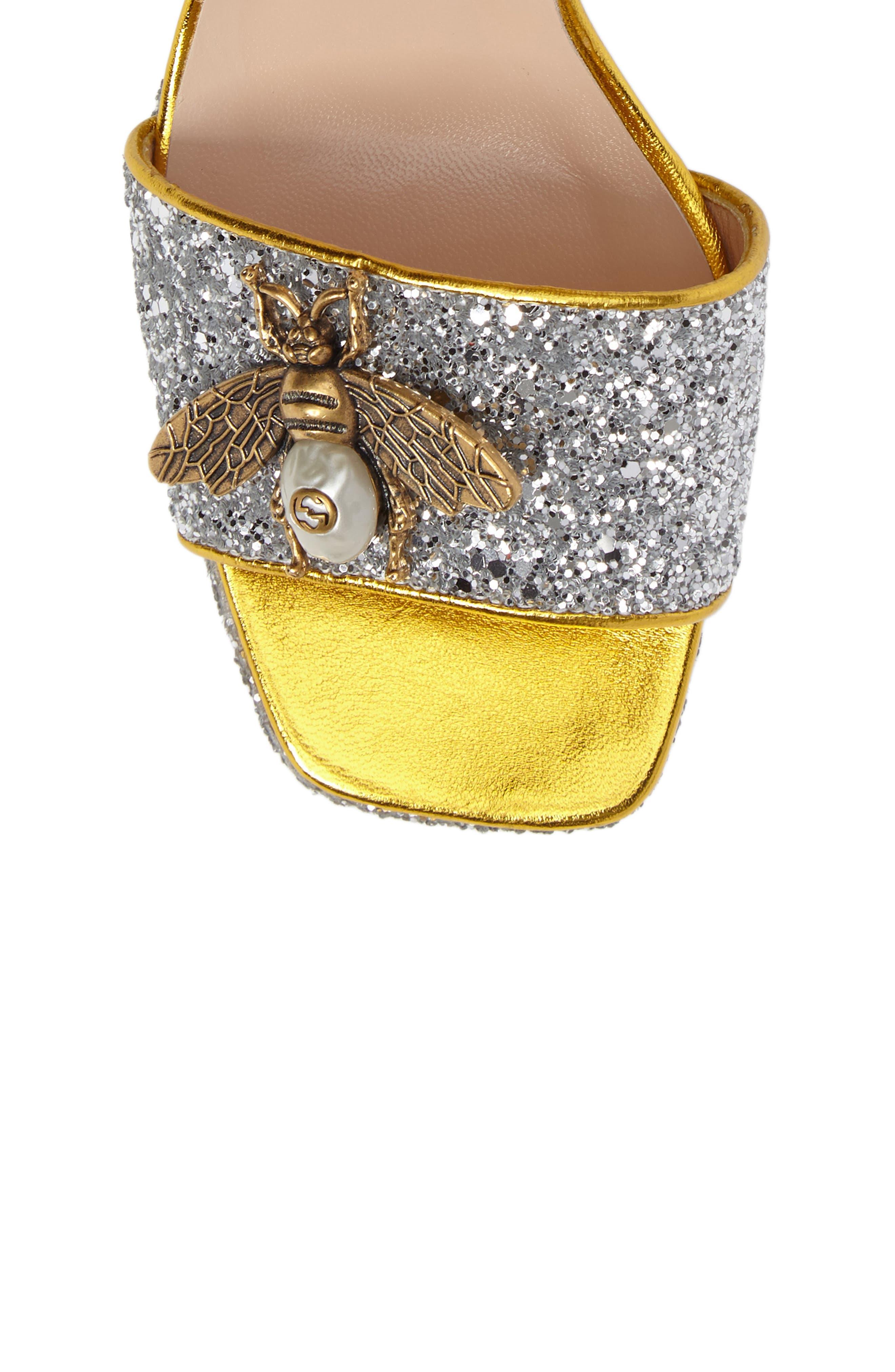 GUCCI,                             Soko Glitter Bee Sandal,                             Alternate thumbnail 5, color,                             040