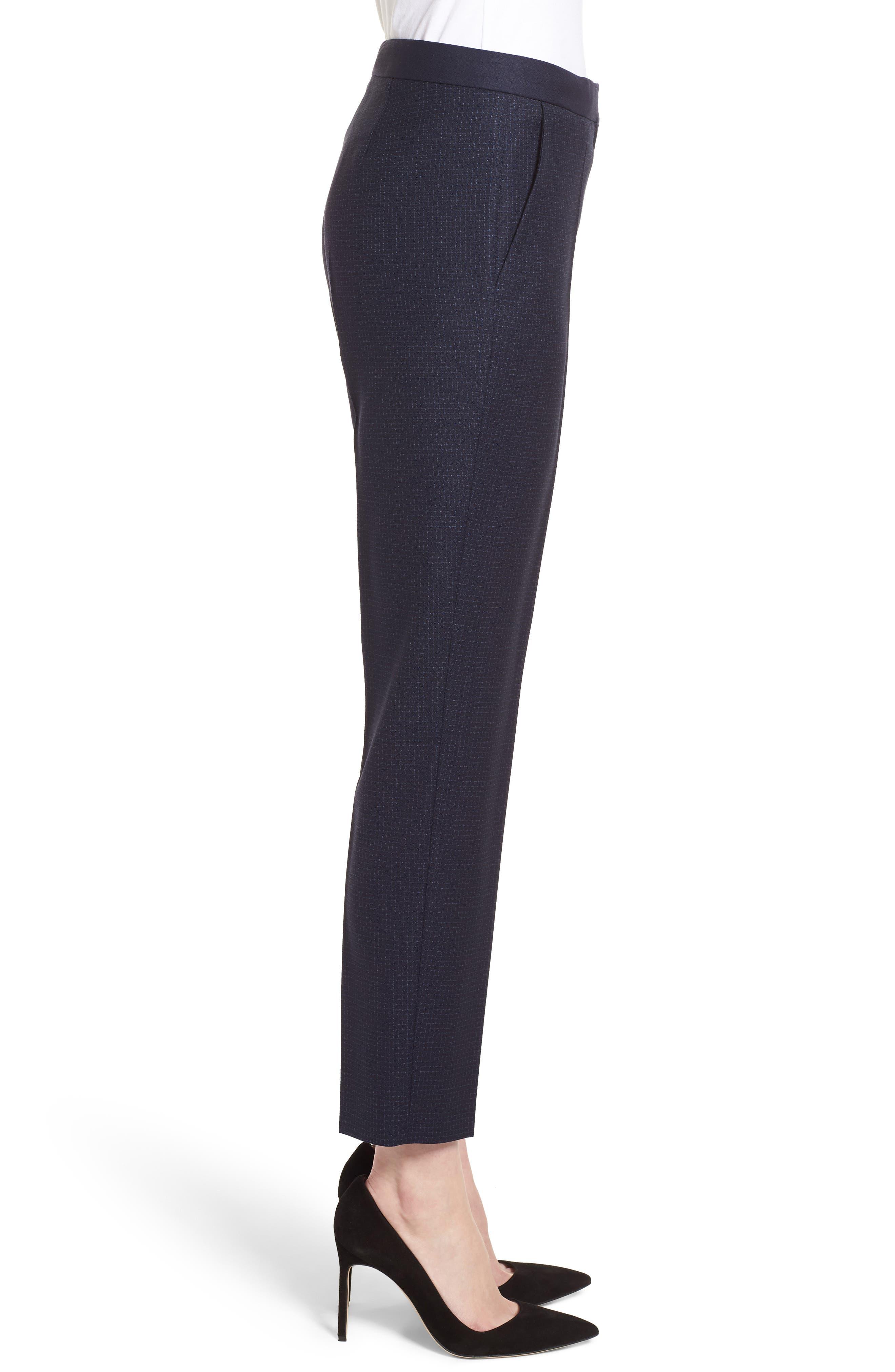 Tiluna Windowpane Slim Leg Trousers,                             Alternate thumbnail 3, color,