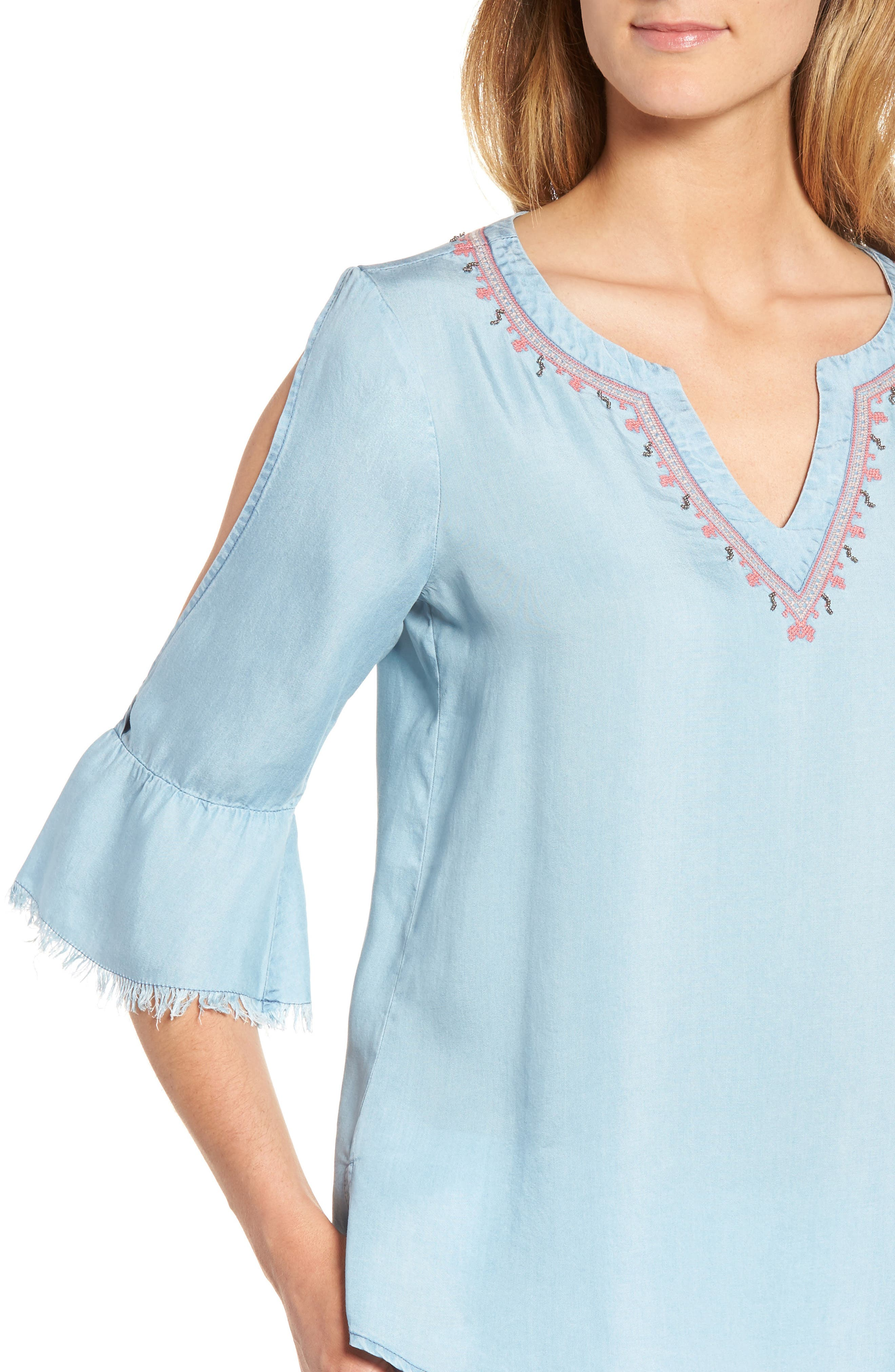 Embellished Bell Sleeve Chambray Top,                             Alternate thumbnail 4, color,                             400