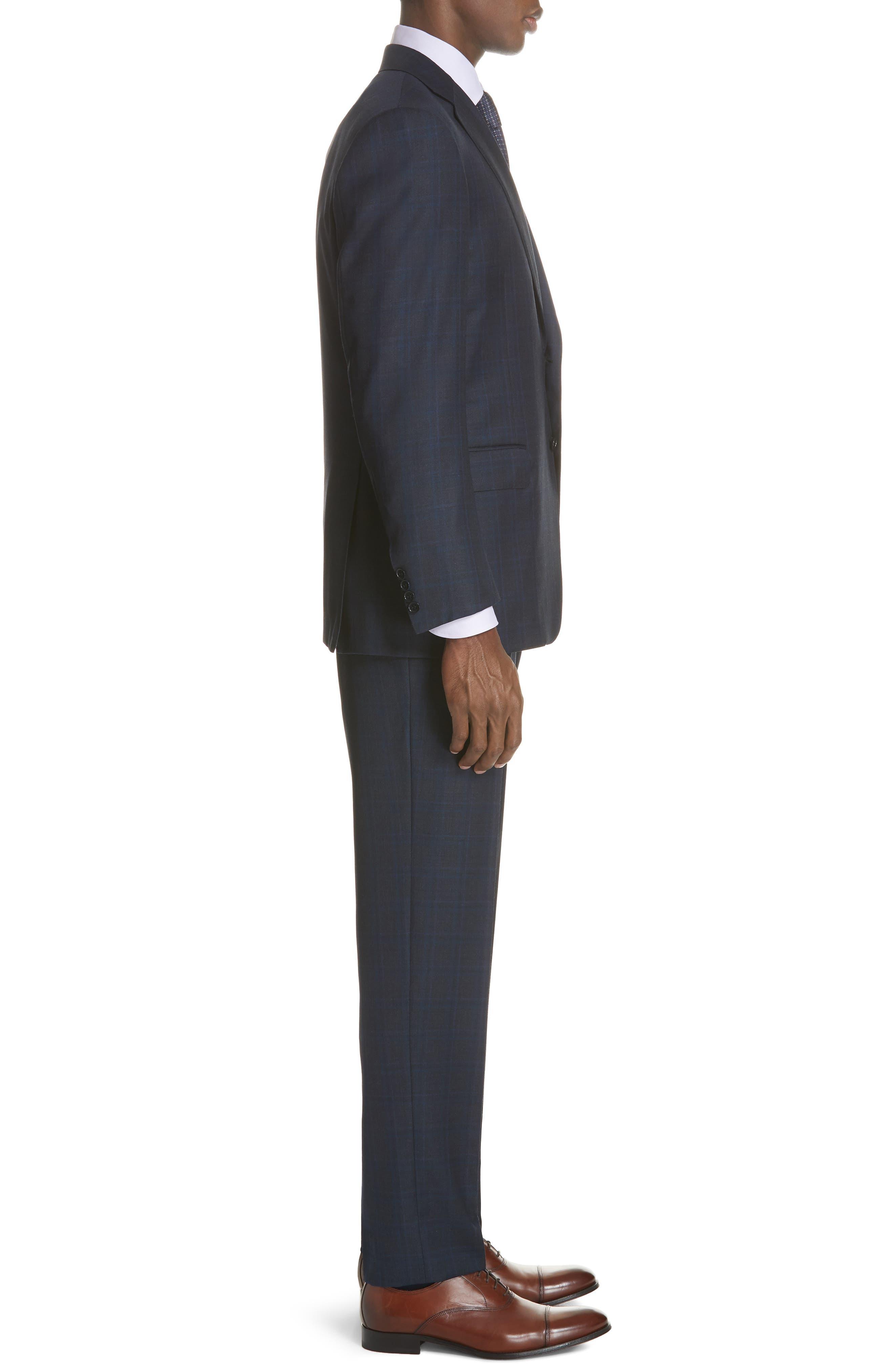 Classic Fit Plaid Wool Suit,                             Alternate thumbnail 3, color,                             CHARCOAL