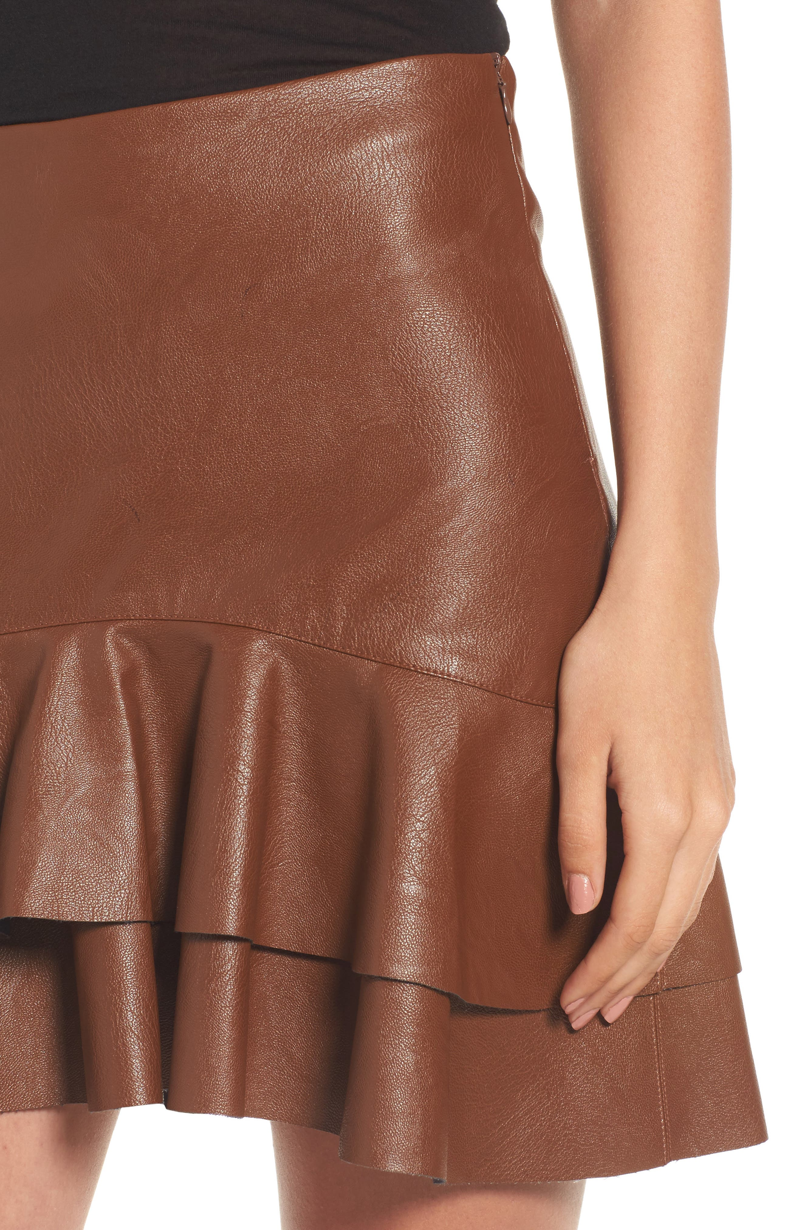 Ruffle Hem Faux Leather Skirt,                             Alternate thumbnail 4, color,