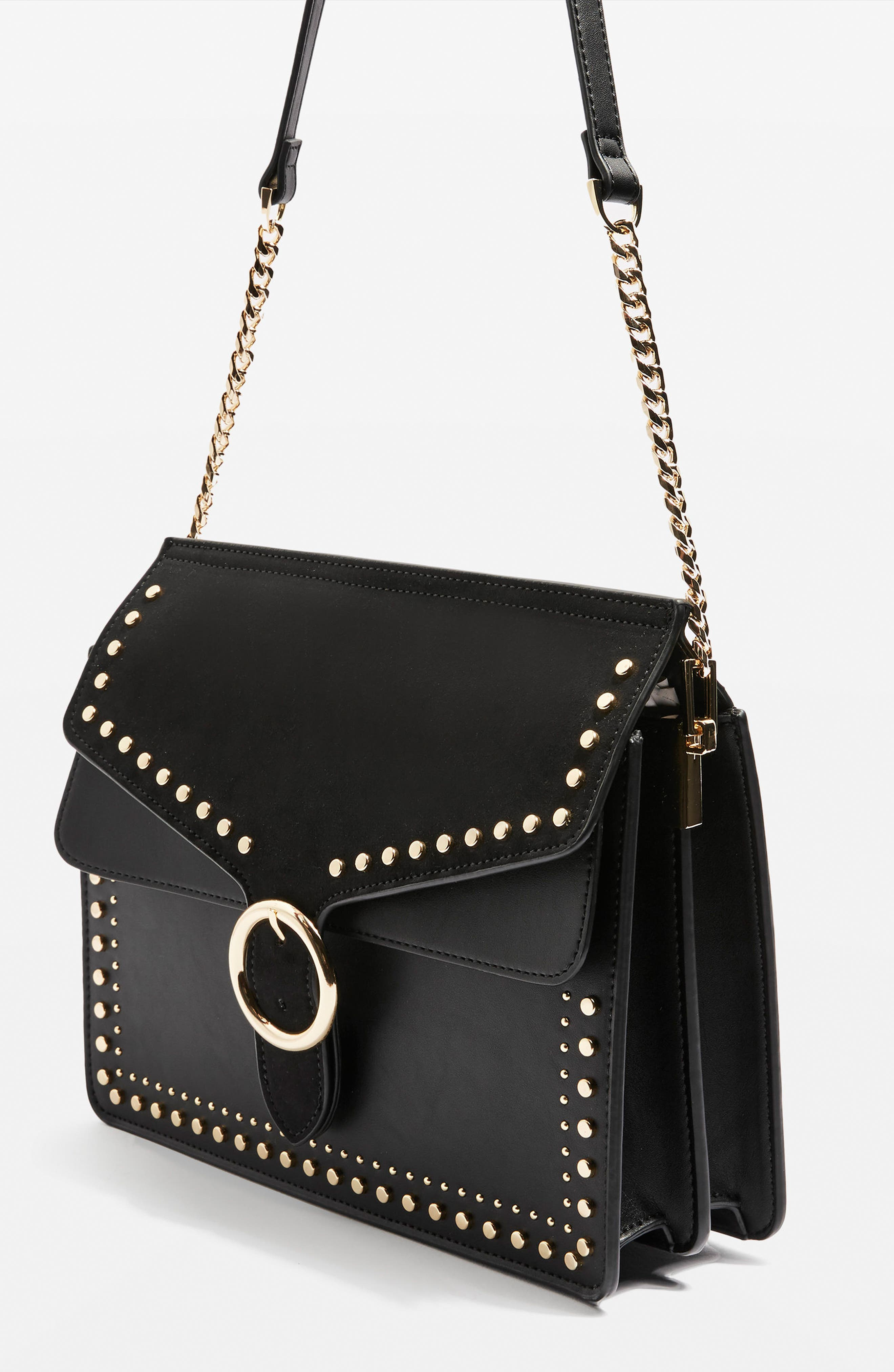 Peony Studded Shoulder Bag,                             Alternate thumbnail 4, color,                             001
