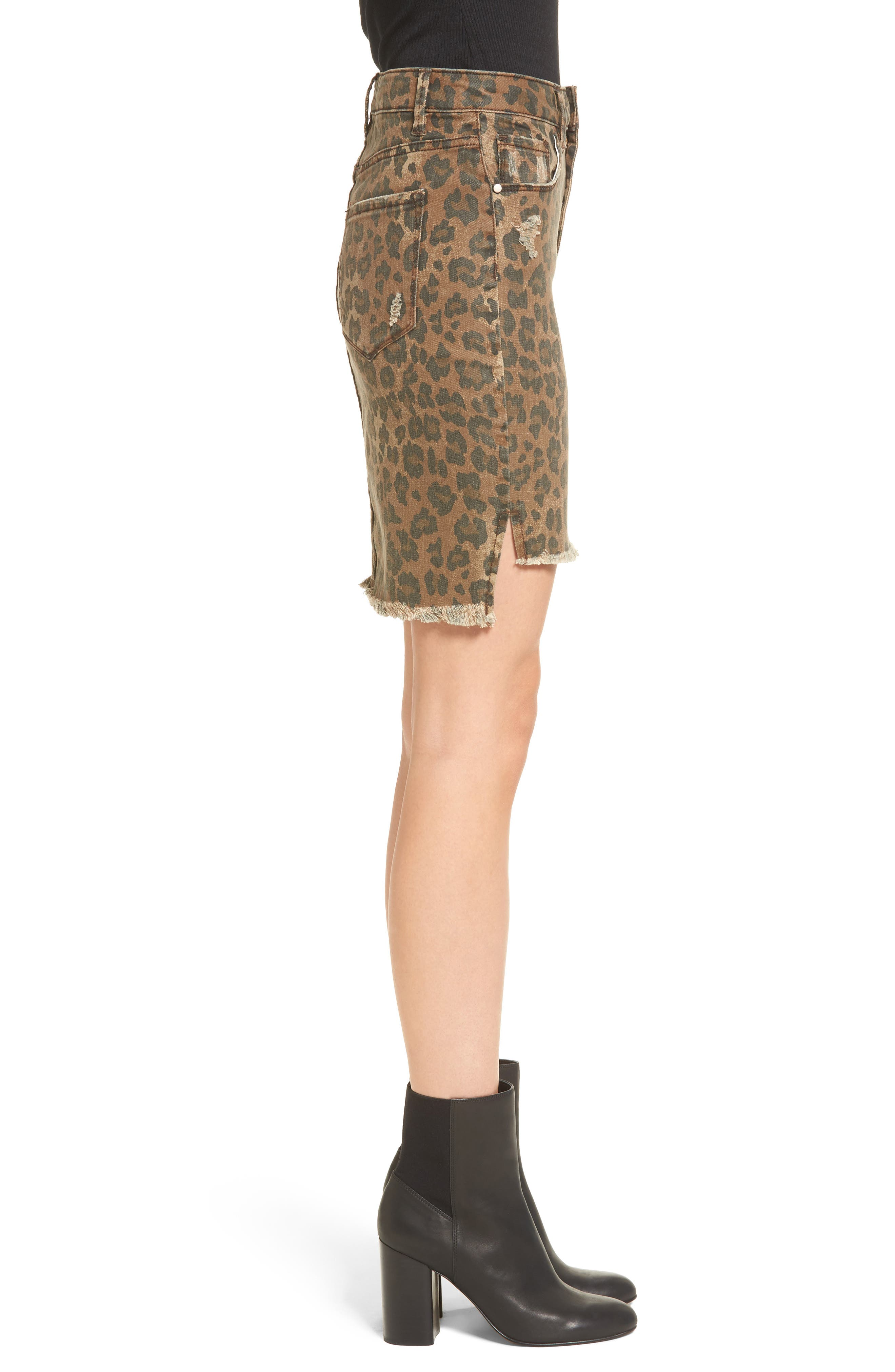 Bella Distressed Denim Skirt,                             Alternate thumbnail 3, color,                             001