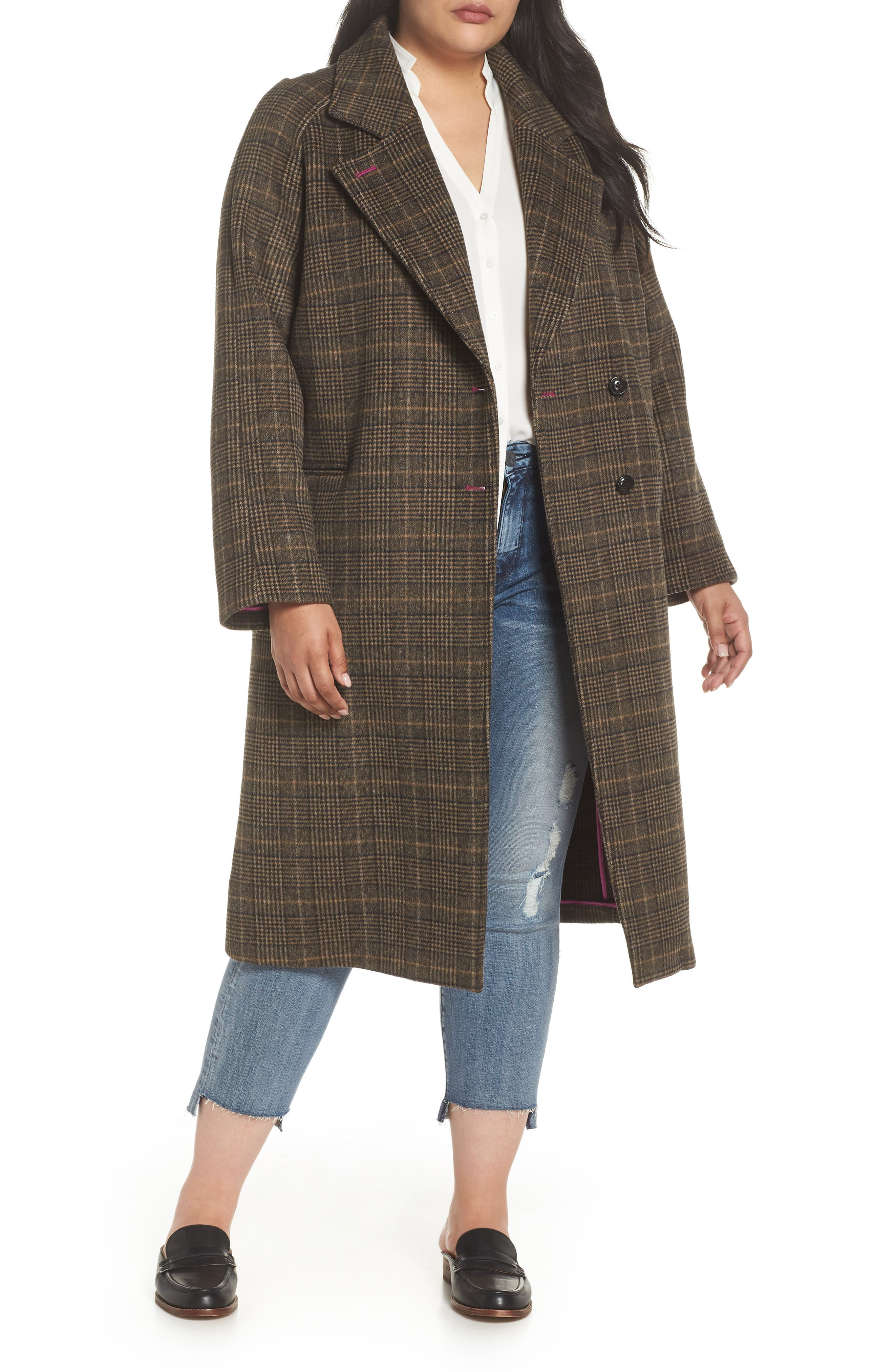 Double Face Plaid Wool Blend Coat,                         Main,                         color, 218