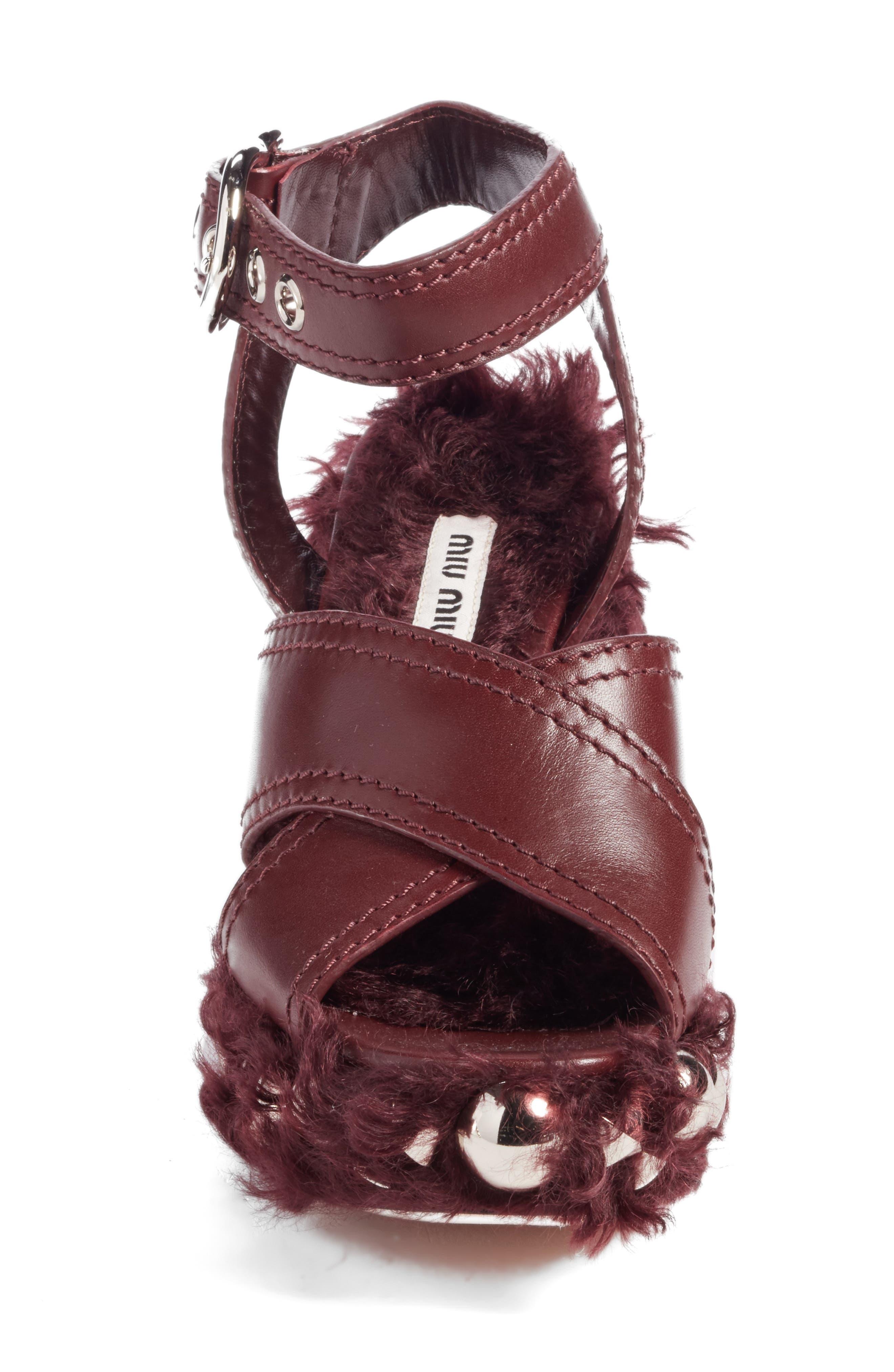 Faux Fur Platform Sandal,                             Alternate thumbnail 4, color,                             930