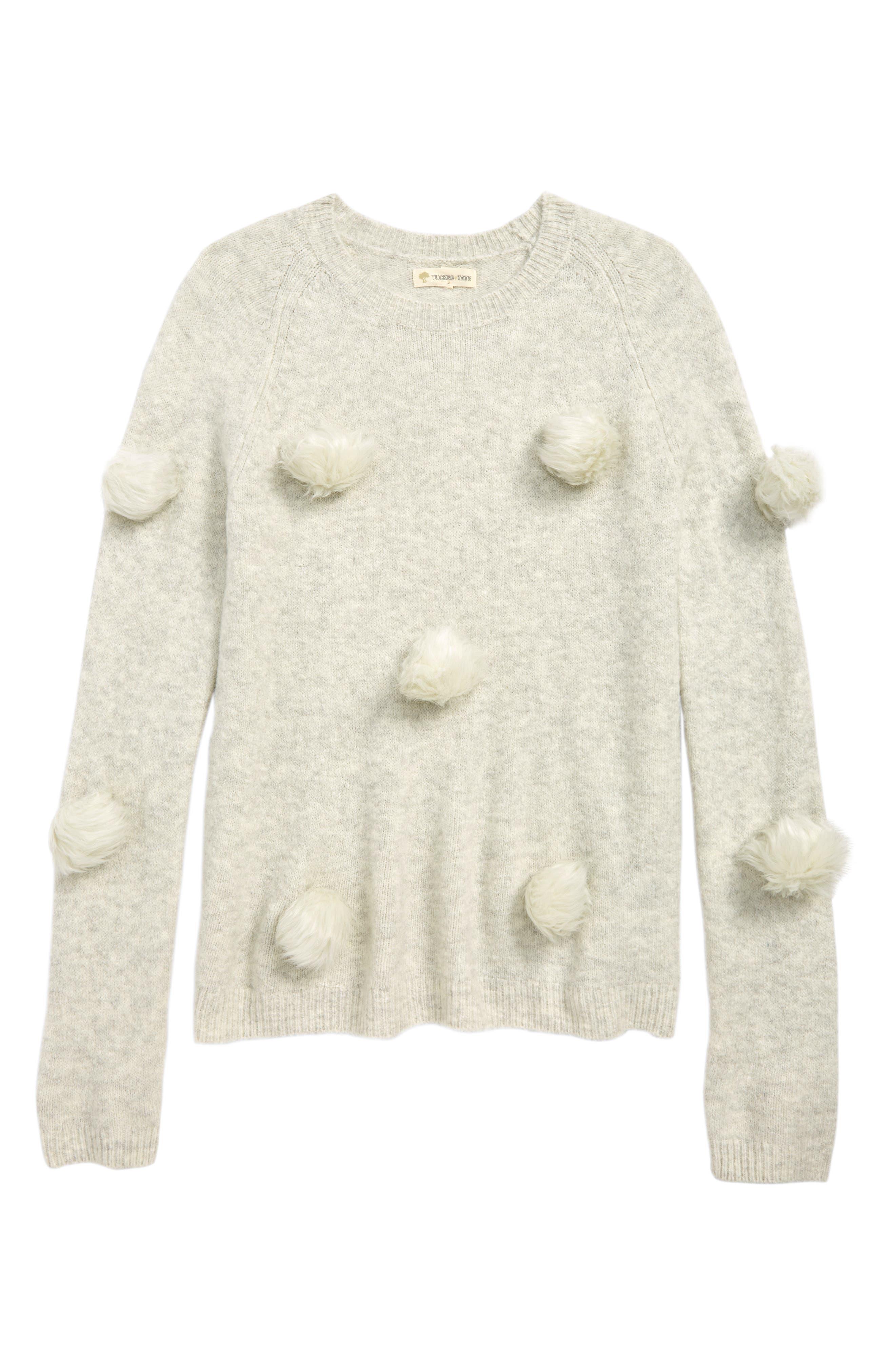 Faux Fur Pompom Sweater,                             Main thumbnail 1, color,                             IVORY EGRET HEATHER