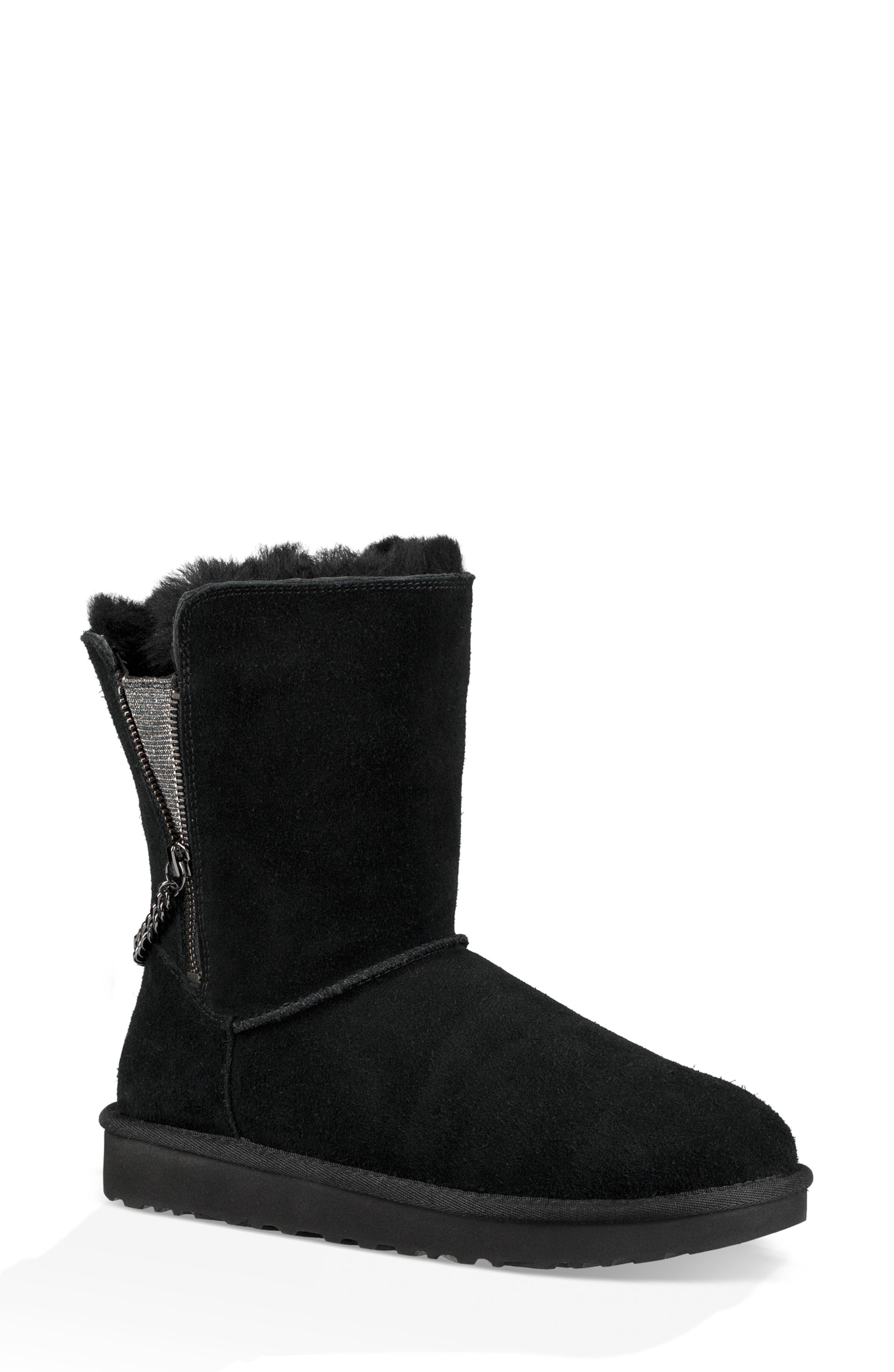 Classic Sparkle Zip Bootie,                             Alternate thumbnail 8, color,                             BLACK SUEDE