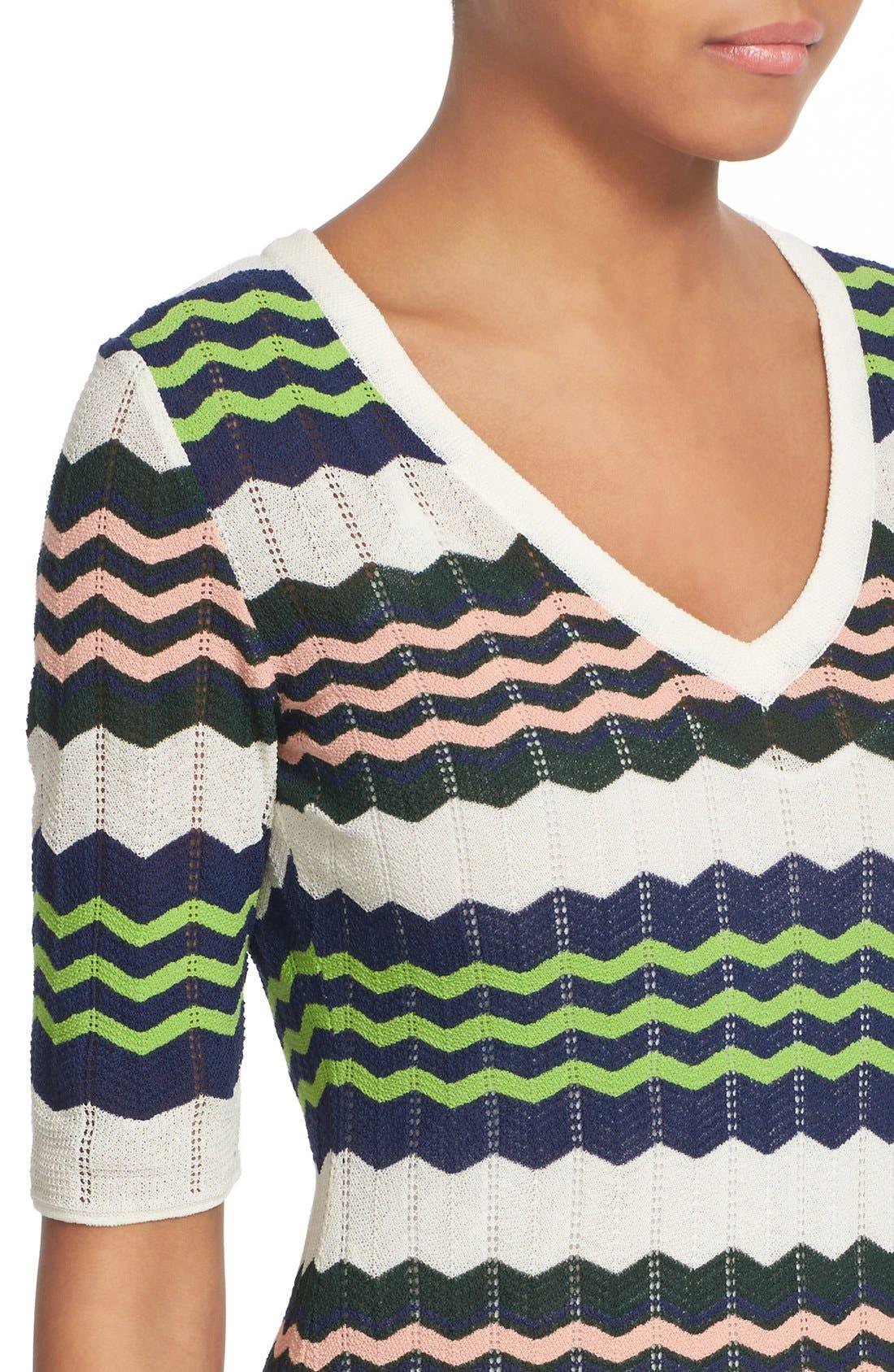 Zigzag Stripe Knit A-Line Dress,                             Alternate thumbnail 4, color,                             900