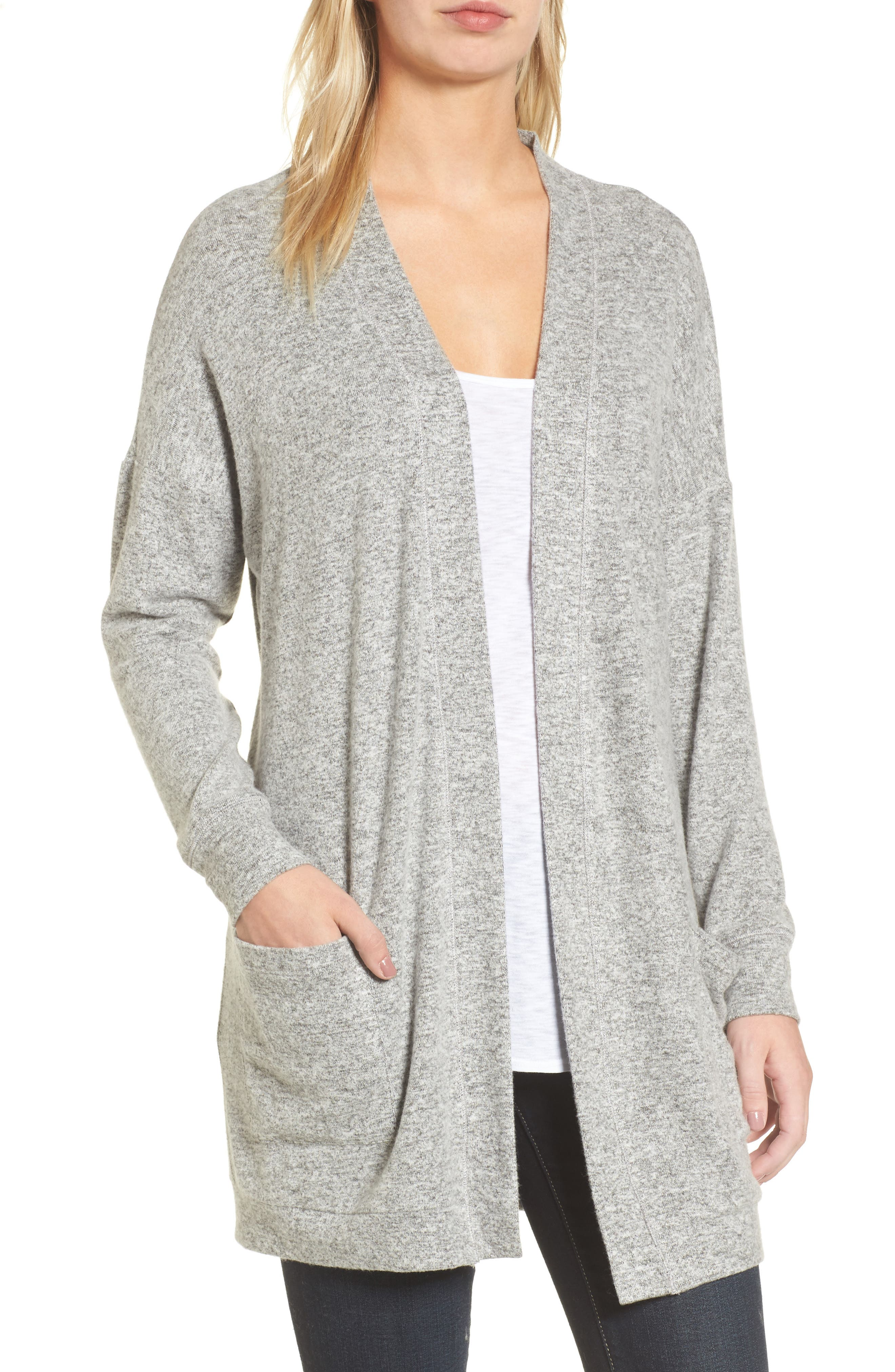 Rib Knit Cardigan,                             Main thumbnail 1, color,                             LIGHT HEATHER GREY