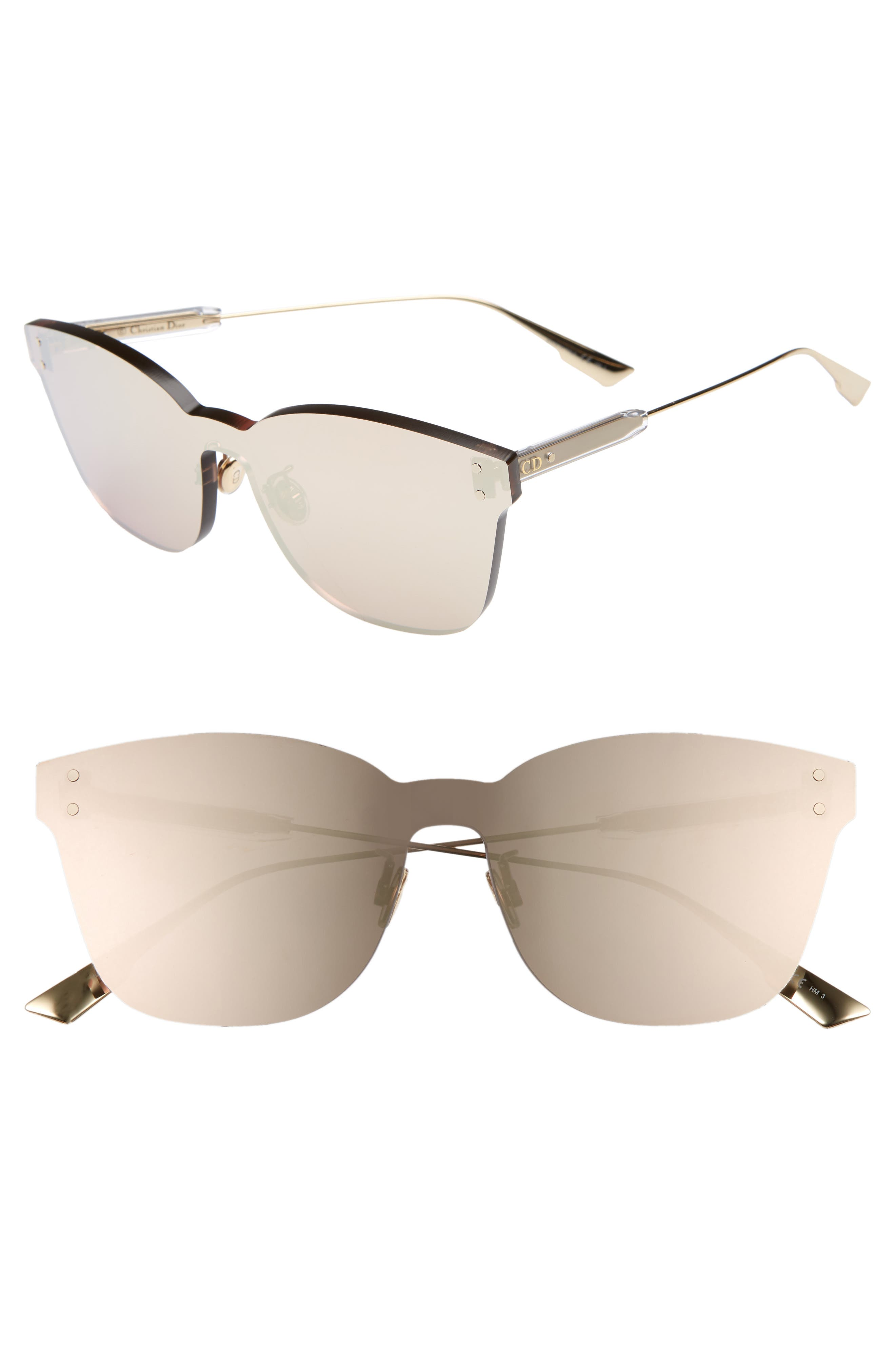 Christian Dior Quake2 135Mm Rimless Shield Sunglasses - Gold Copper