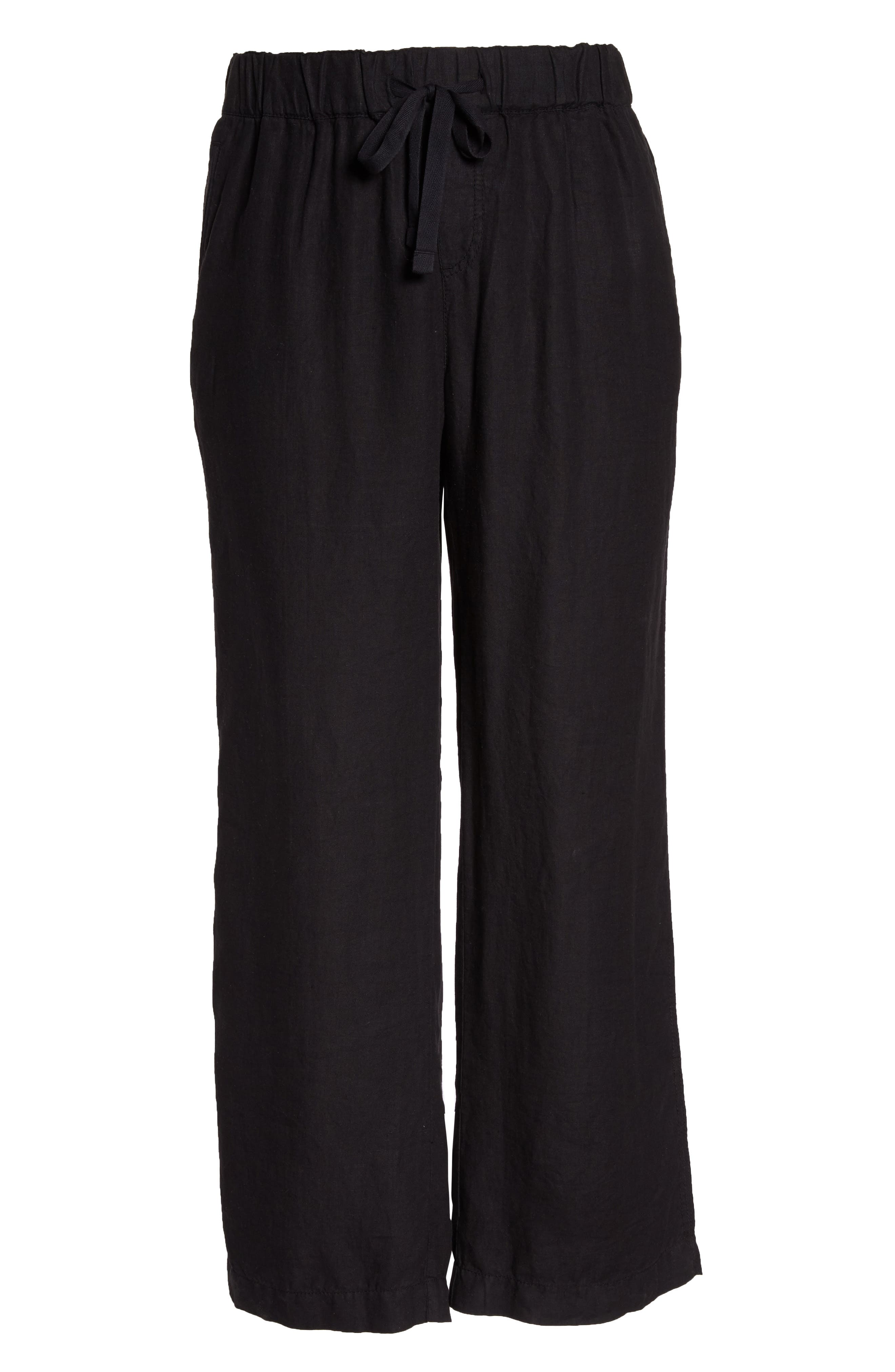 Linen Track Pants,                             Alternate thumbnail 6, color,                             001