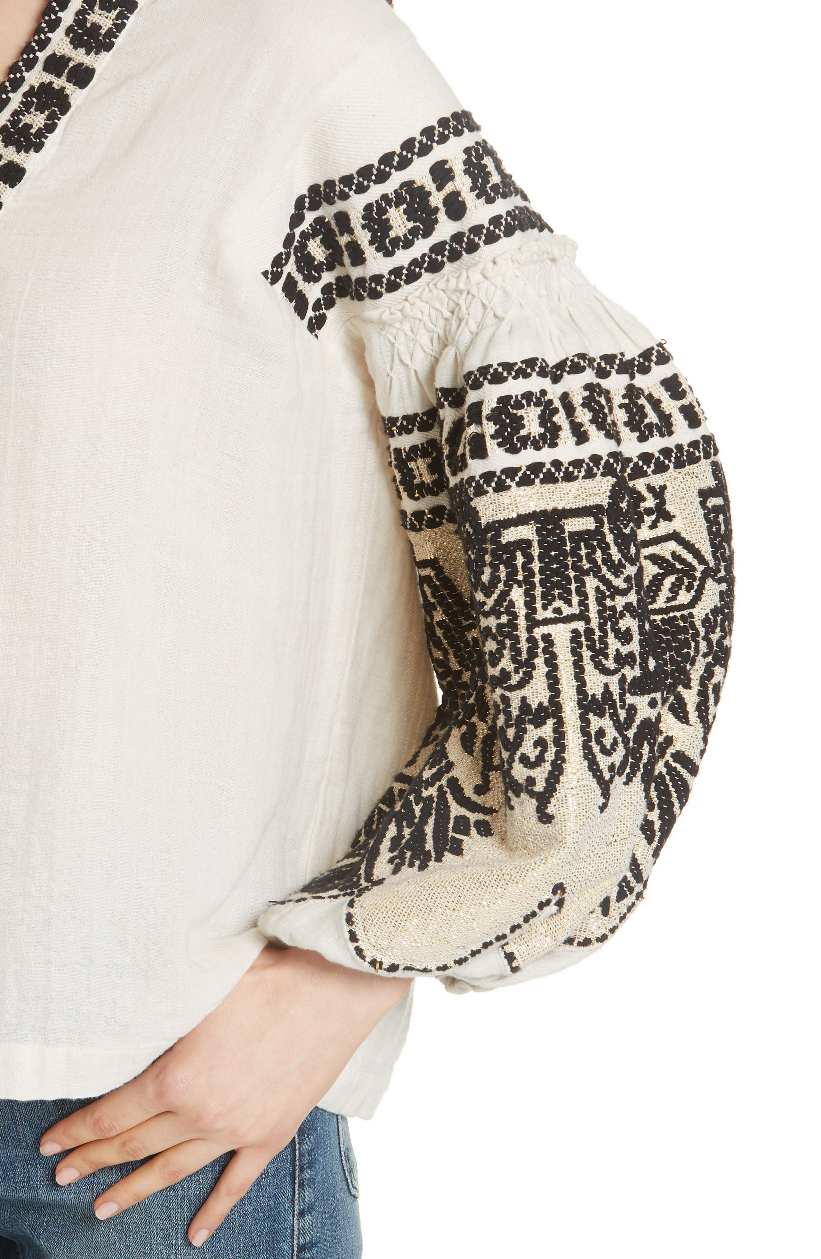 Petra Embroidered Blouse,                             Alternate thumbnail 4, color,                             IVORY