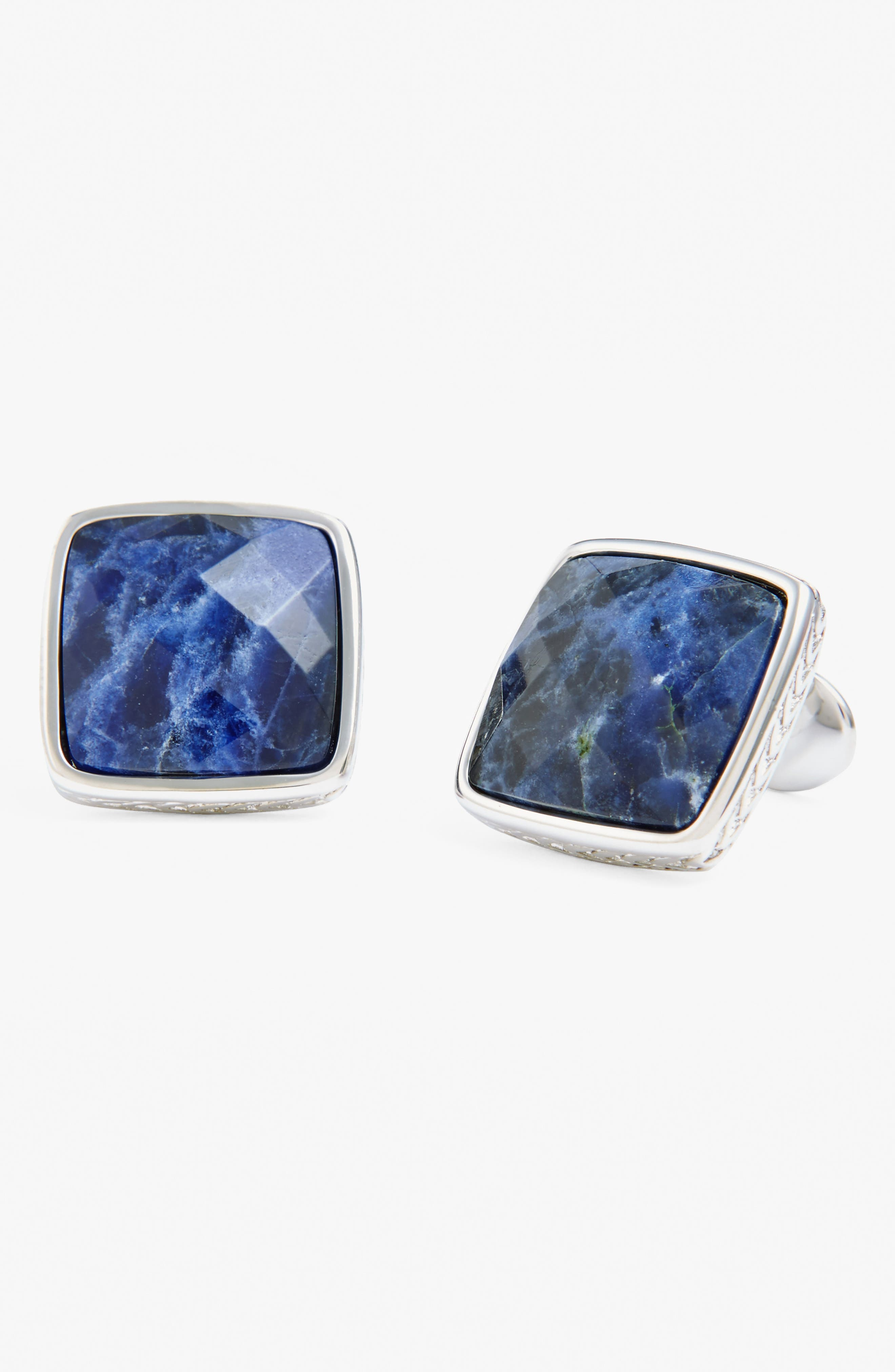 Sterling Silver Cuff Links,                             Alternate thumbnail 2, color,                             SILVER/ BLUE