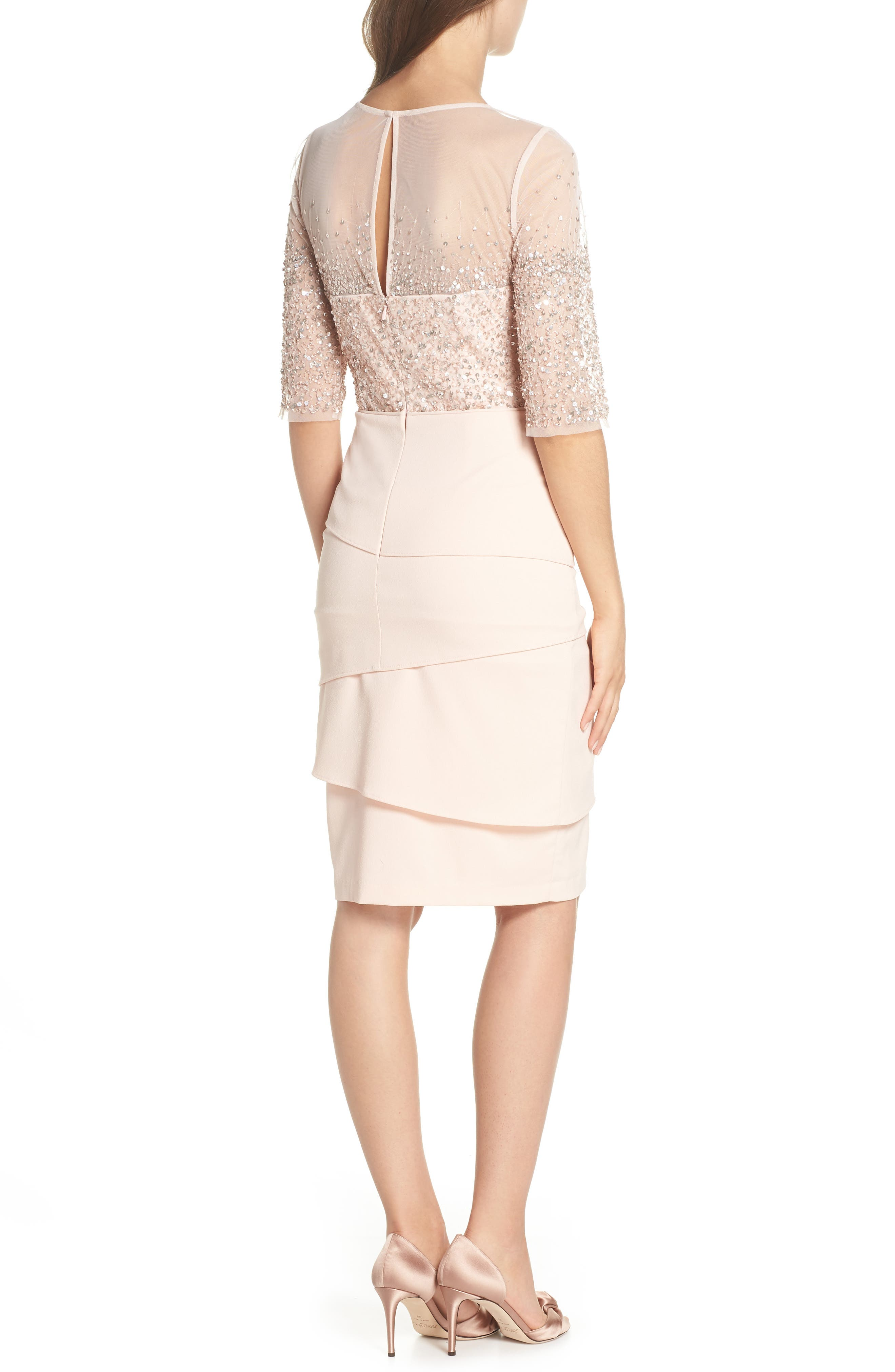 Beaded Illusion Tiered Sheath Dress,                             Alternate thumbnail 2, color,                             BLUSH