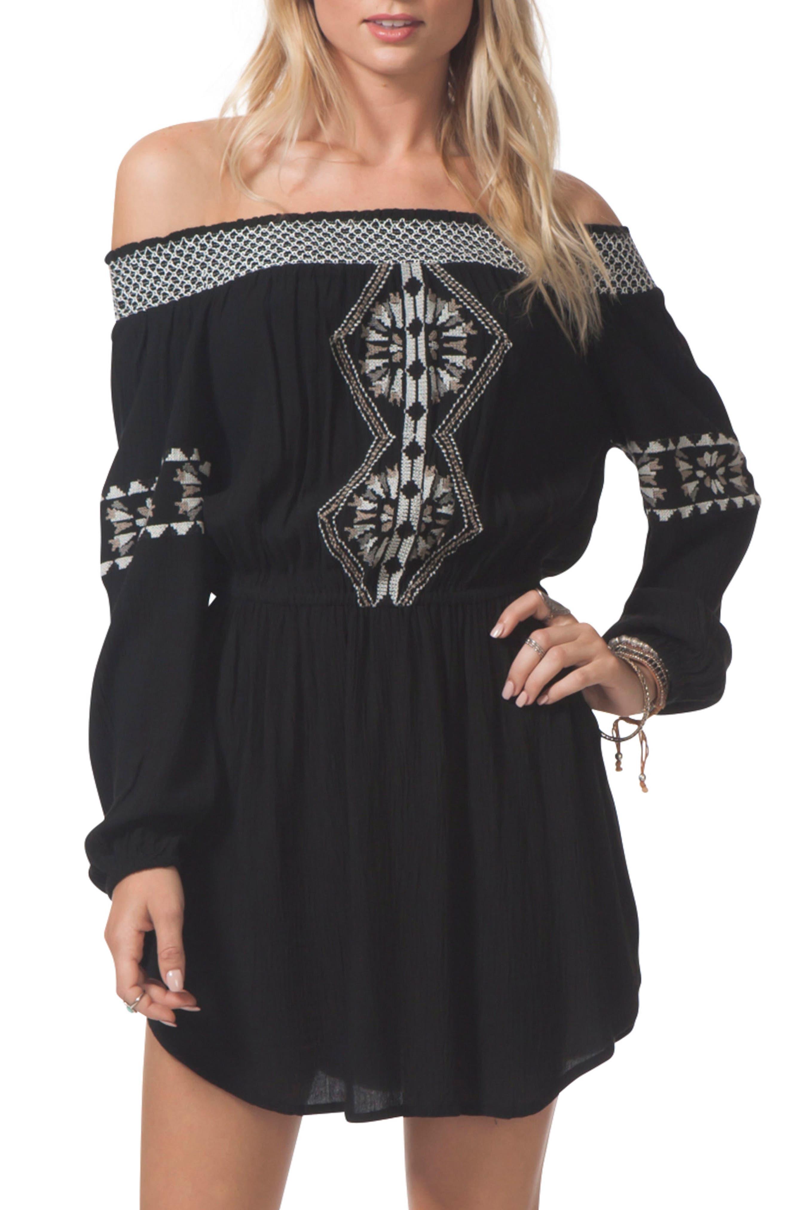 Serena Embroidered Off the Shoulder Dress,                             Main thumbnail 1, color,                             BLACK