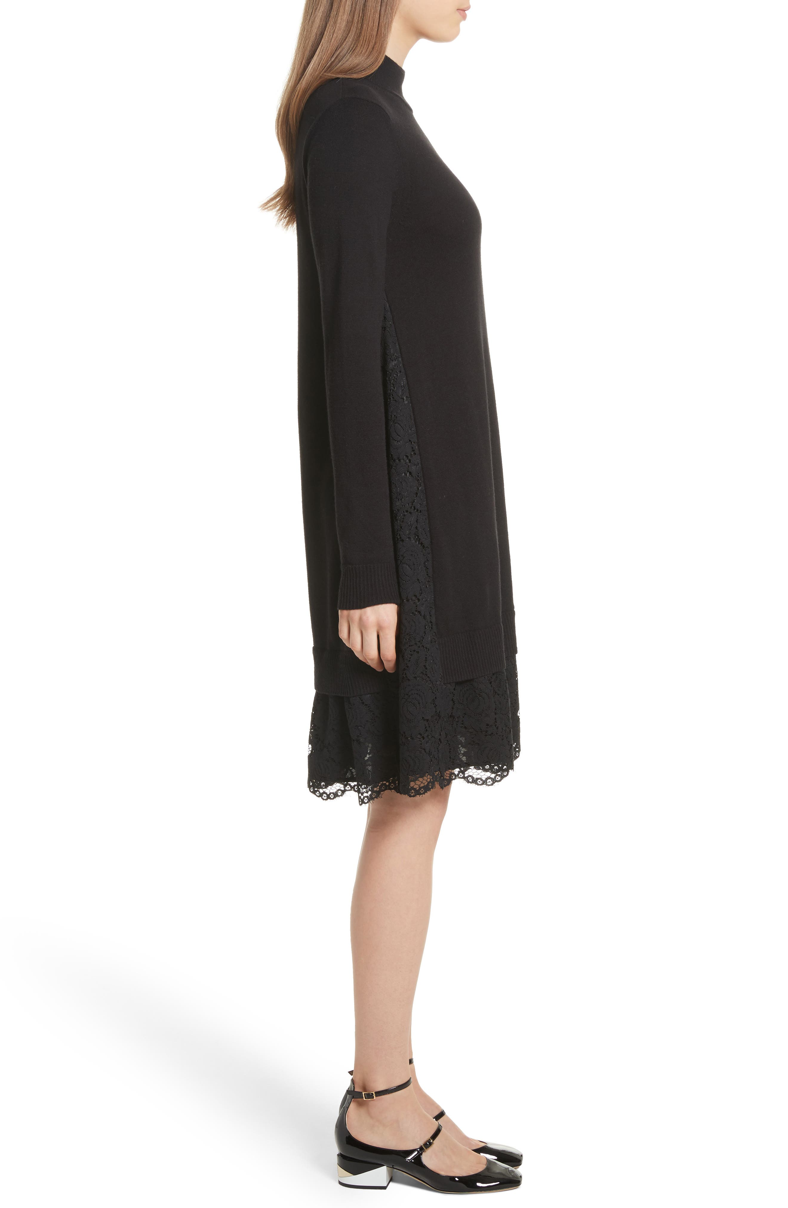 lace inset sweater dress,                             Alternate thumbnail 3, color,                             001
