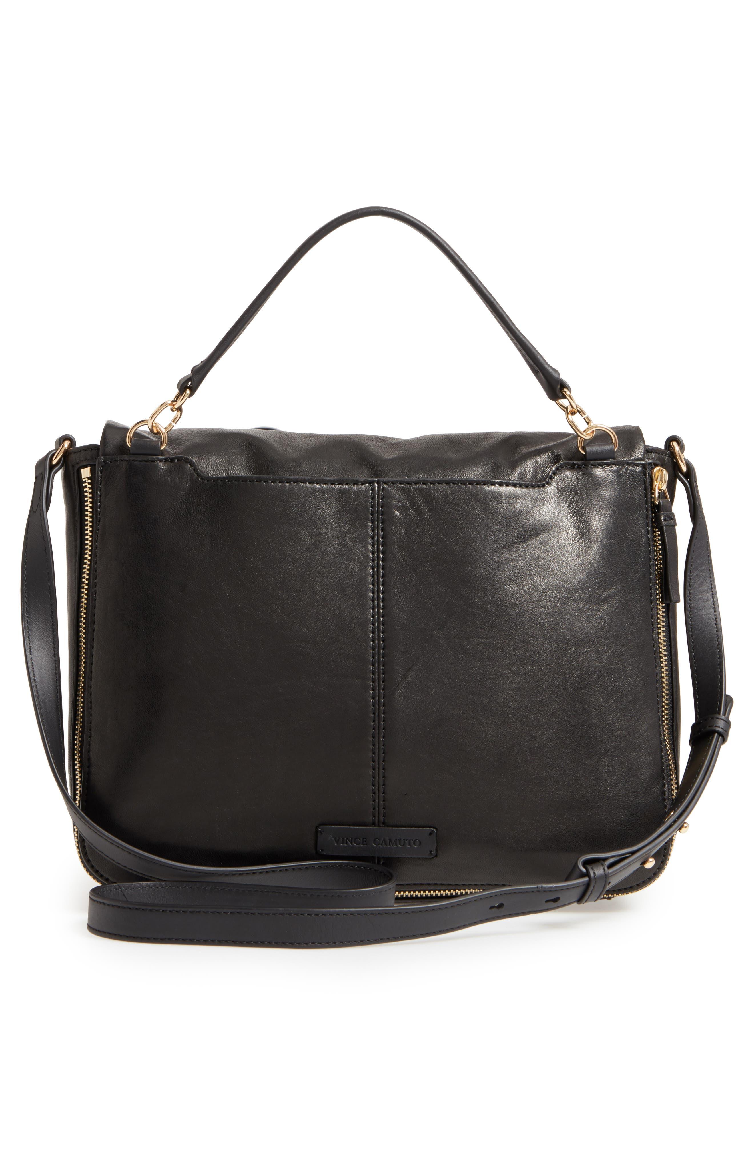 Delos Leather Messenger Bag,                             Alternate thumbnail 3, color,                             002