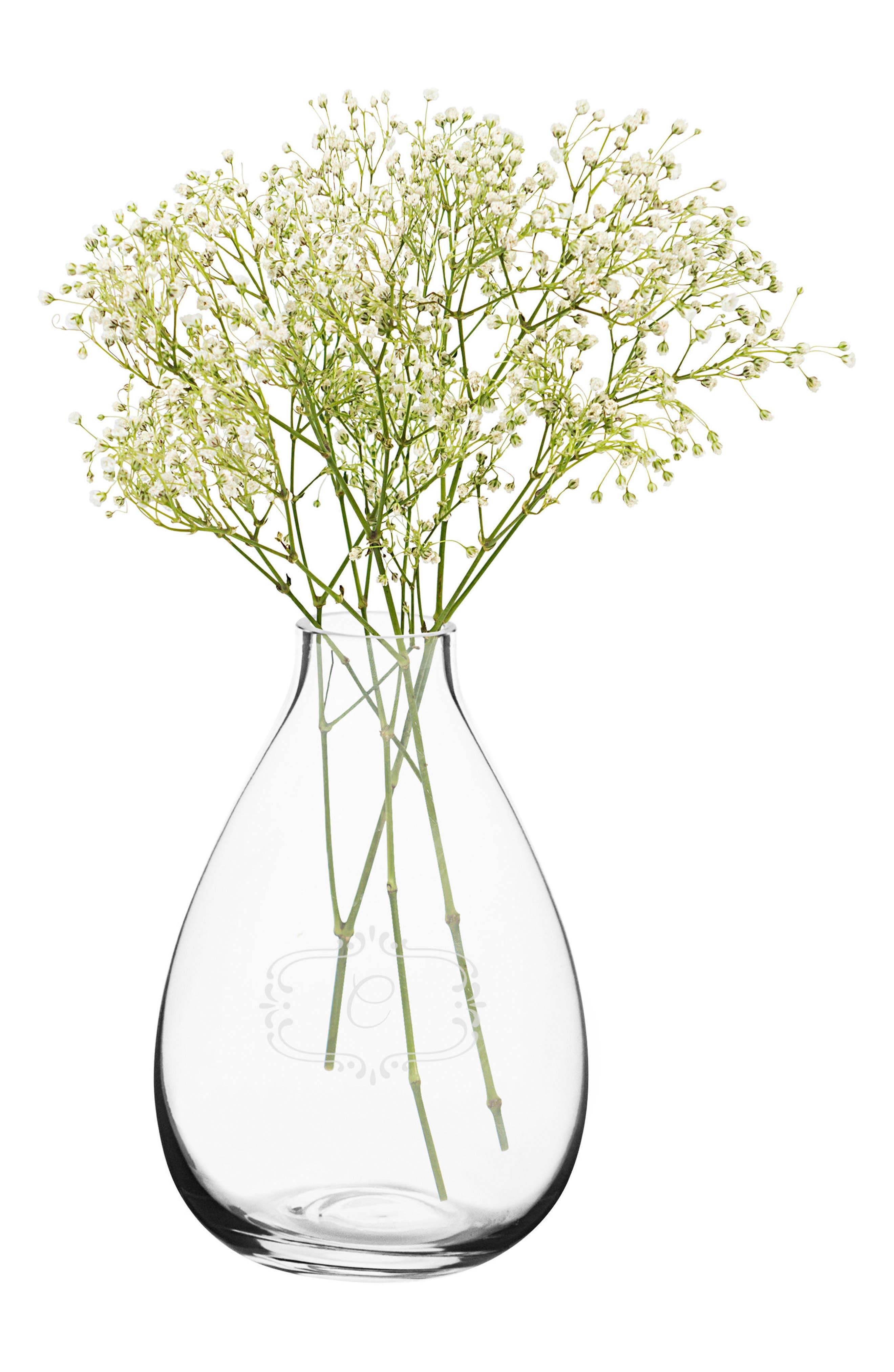 Monogram Glass Vase,                             Main thumbnail 1, color,                             CLEAR - C